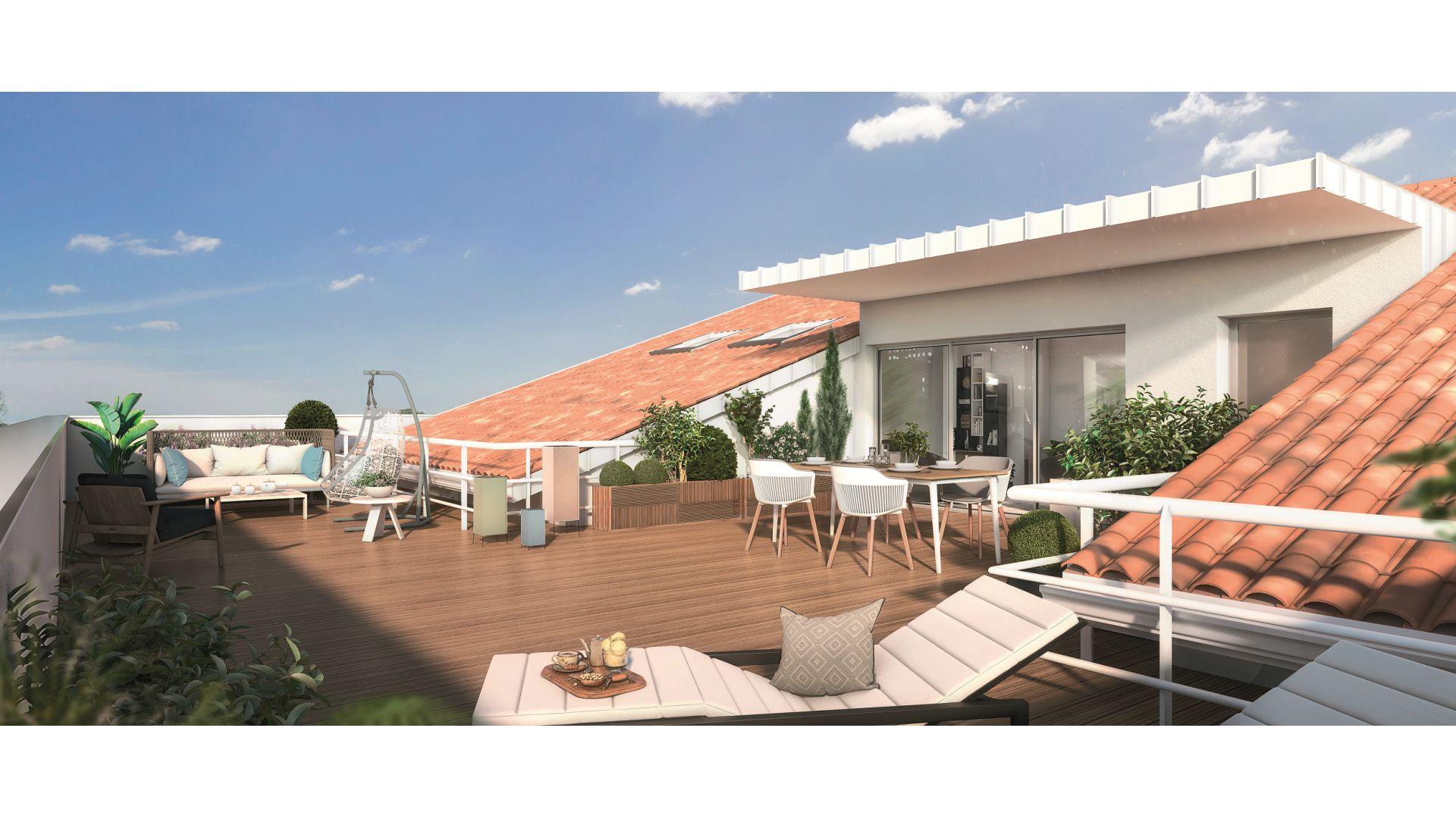 GreenCity immobilier - 31500 Toulouse Roseraie - Parc Romane - rue Louis Plana - appartements neufs du T1 au T4   - vue terrasse