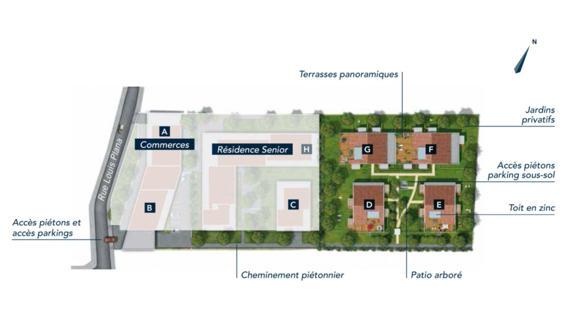 GreenCity immobilier - 31500 Toulouse Roseraie - Parc Romane - rue Louis Plana - appartements neufs du T1 au T4 - plan de masse