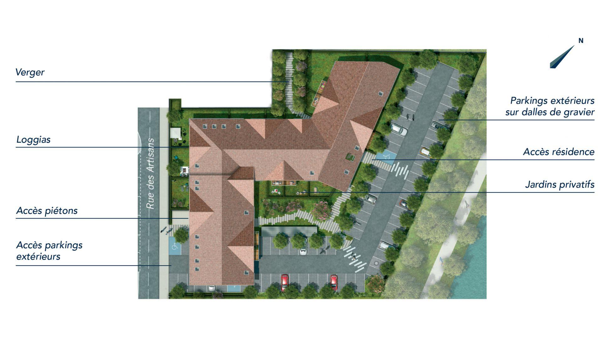 GreenCity immobilier - Fenouillet 31150 - Carré des Muses - appartement du T1 au T3 - plan de masse