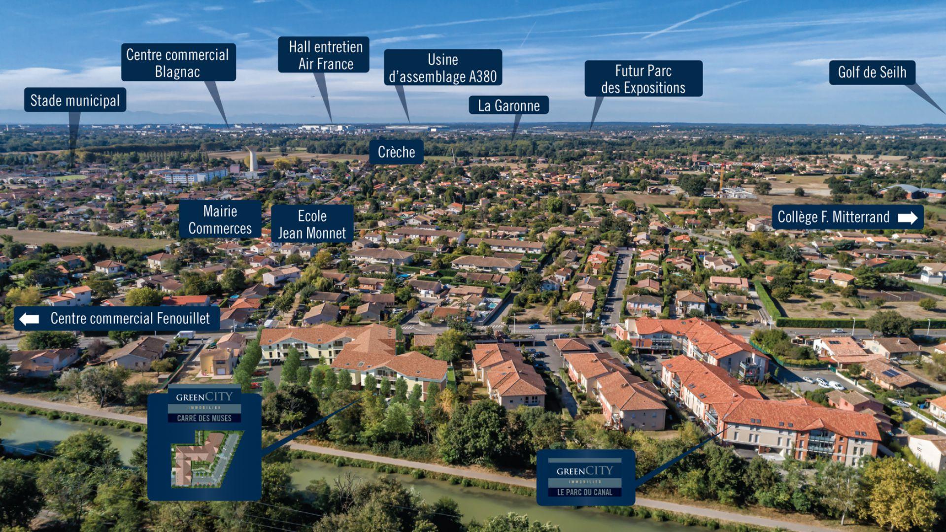 GreenCity immobilier - Fenouillet 31150 - Carré des Muses - appartement du T1 au T3 - insertion paysagere