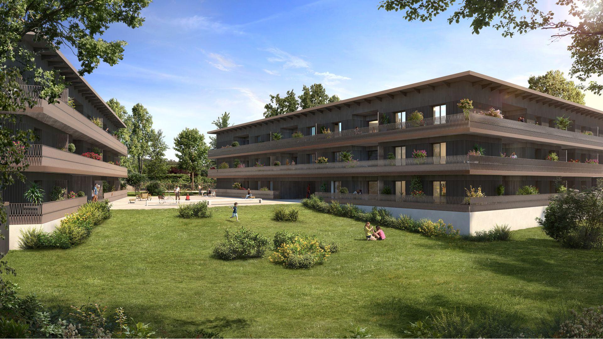Greencity Immobilier - Résidence Carré Flore - 31700 Cornebarrieu - achat immobilier neuf - appartements et villas  du T2 au T5 - côté parc