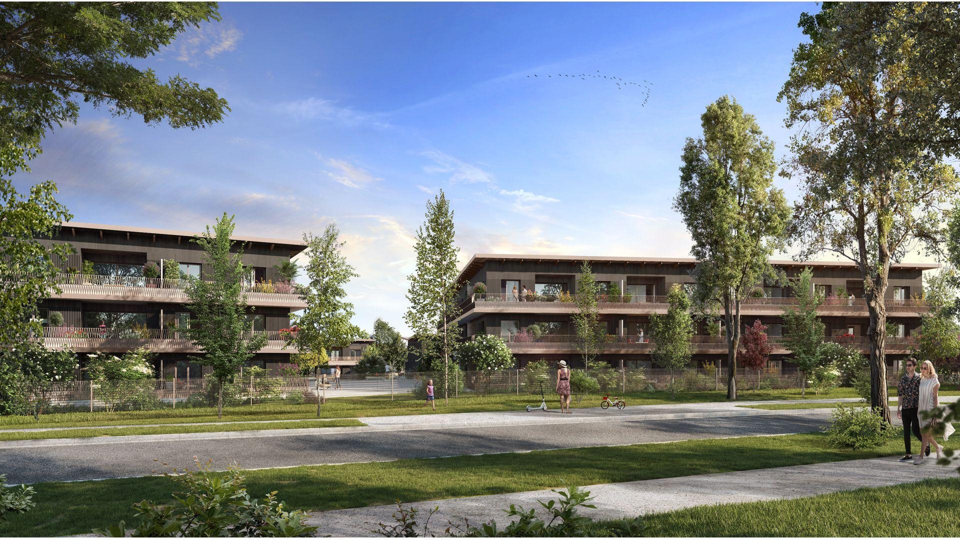 Greencity Immobilier - Résidence Carré Flore - 31700 Cornebarrieu - achat immobilier neuf - appartements et villas  du T2 au T5 - côté rue