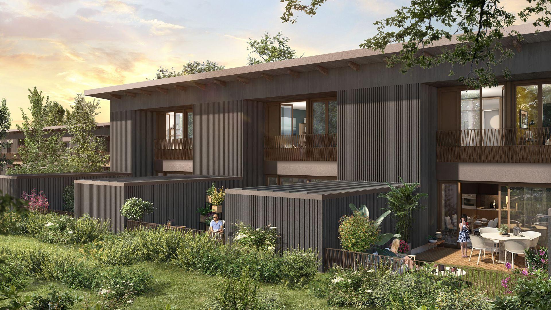 Greencity Immobilier - Résidence Carré Flore - 31700 Cornebarrieu - achat immobilier neuf - appartements et villas  du T2 au T5 - villa jardin