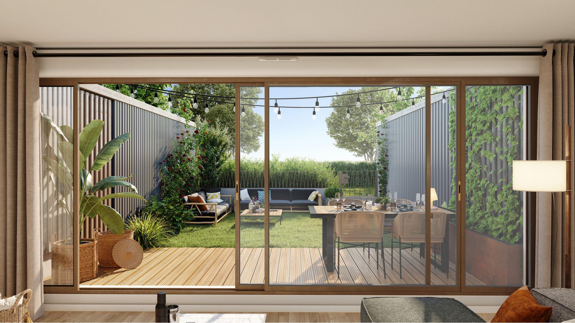 Greencity Immobilier - Résidence Carré Flore - 31700 Cornebarrieu - achat immobilier neuf - appartements et villas  du T2 au T5 - terrassse
