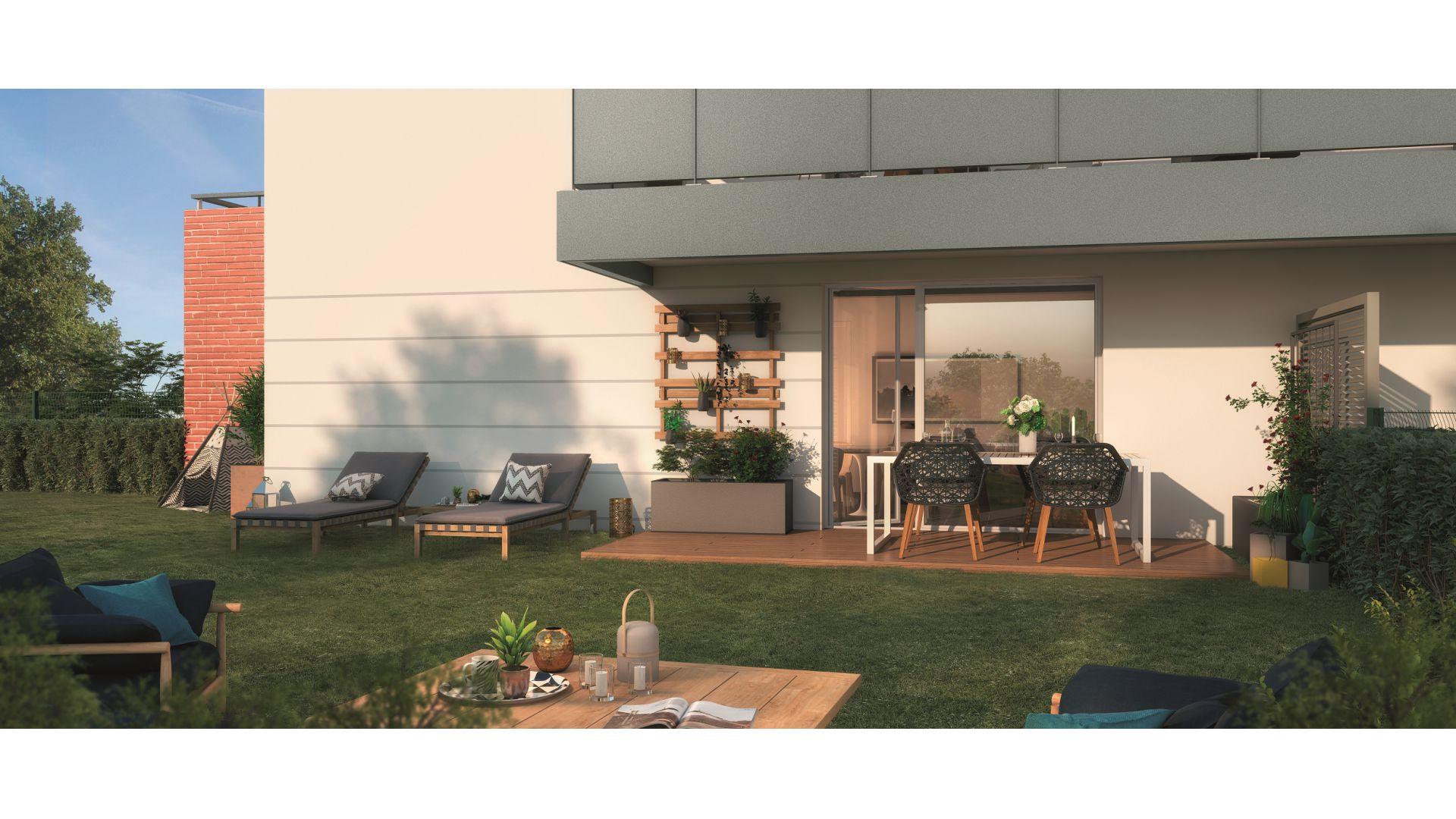 GreenCity immobilier - Clos Cassandre - 31700 Blagnac - appartements neufs du T1Bis au T5Duplex - terrasse