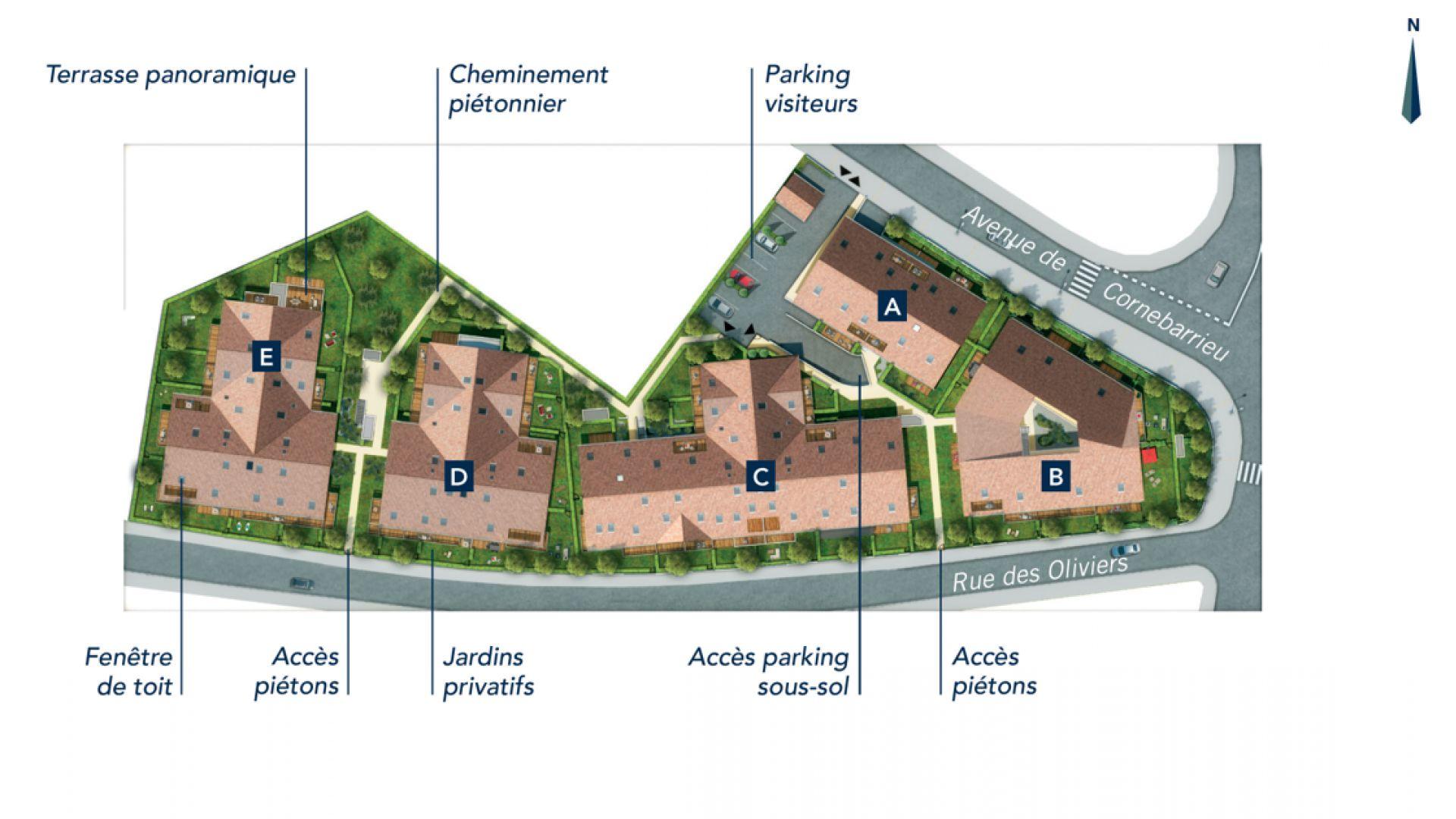 GreenCity immobilier - Clos Cassandre - 31700 Blagnac - appartements neufs du T1Bis au T5Duplex - plan de masse