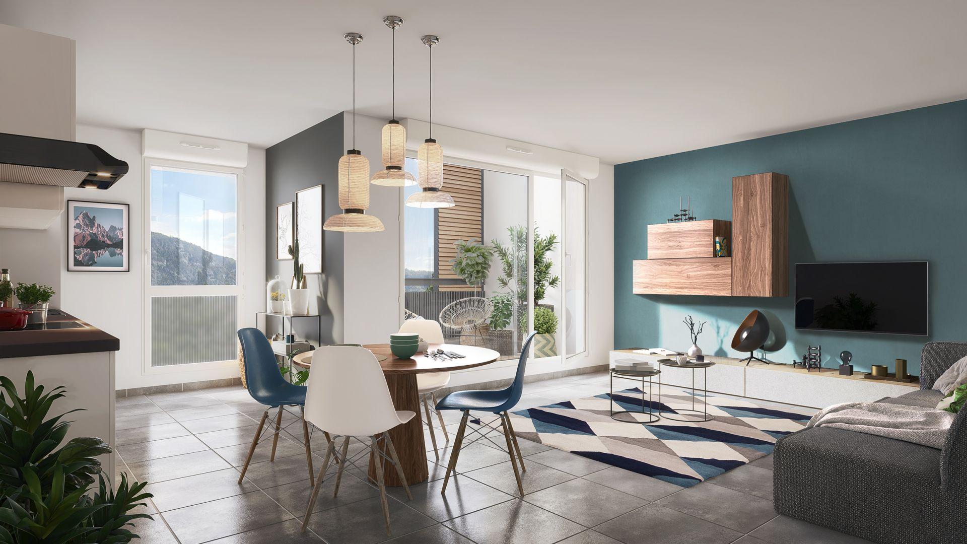 Greencity Immobilier - Clos Charvin - achat appartement neuf du T1 au T3 - Bonneville 74130  - vue intérieure