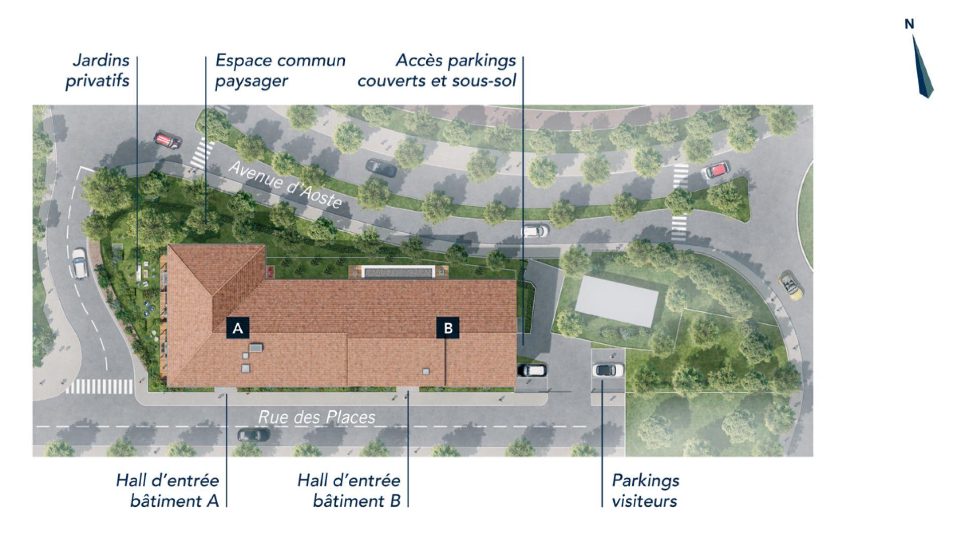 Greencity Immobilier - Clos Charvin - achat appartement neuf du T1 au T3 - Bonneville 74130  - plan de masse