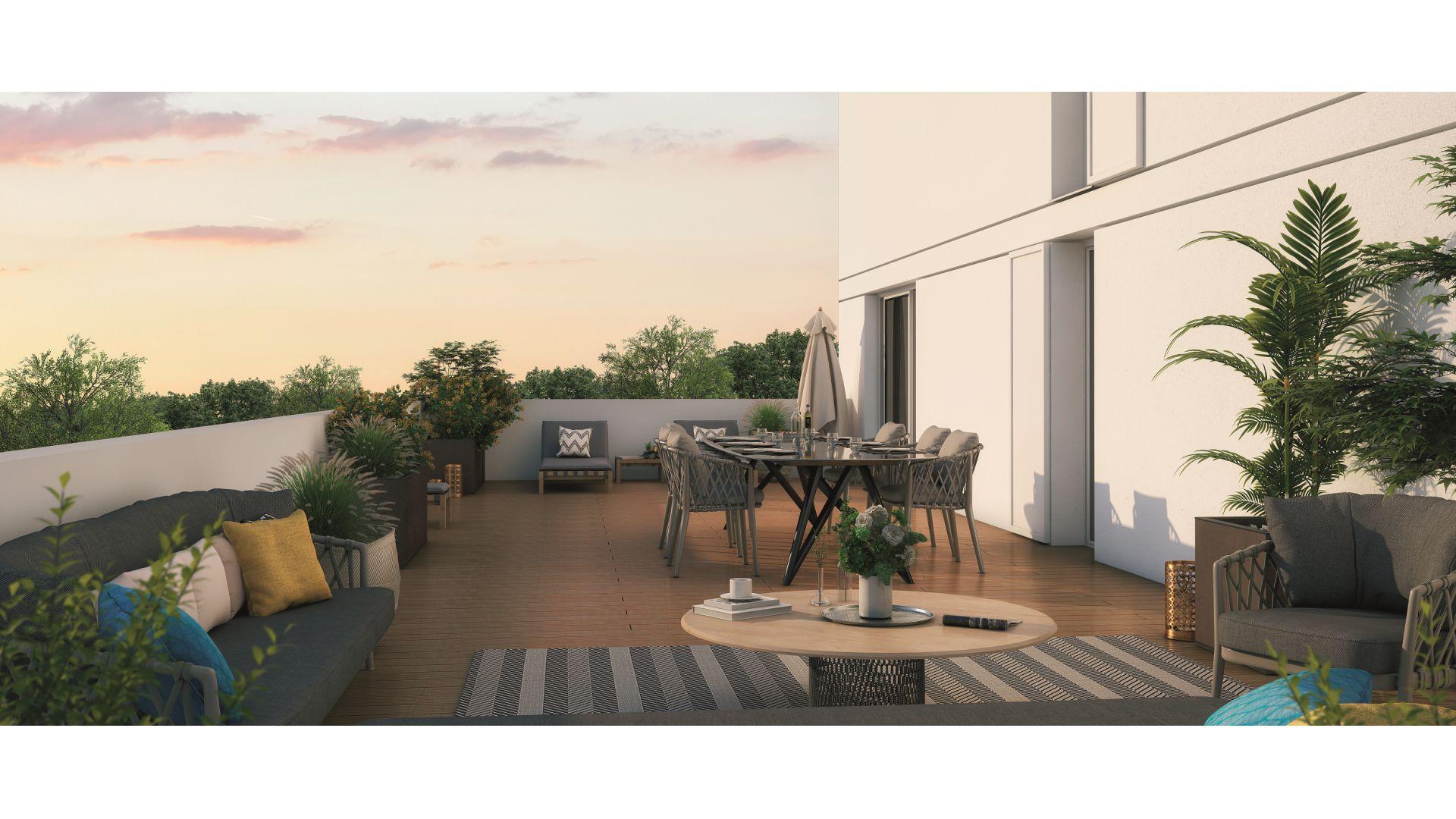 Greencity Immobilier - Résidence Coeur Floréal - 31200 Toulouse Minimes - appartements neufs du T1 au T4 - vue terrasse