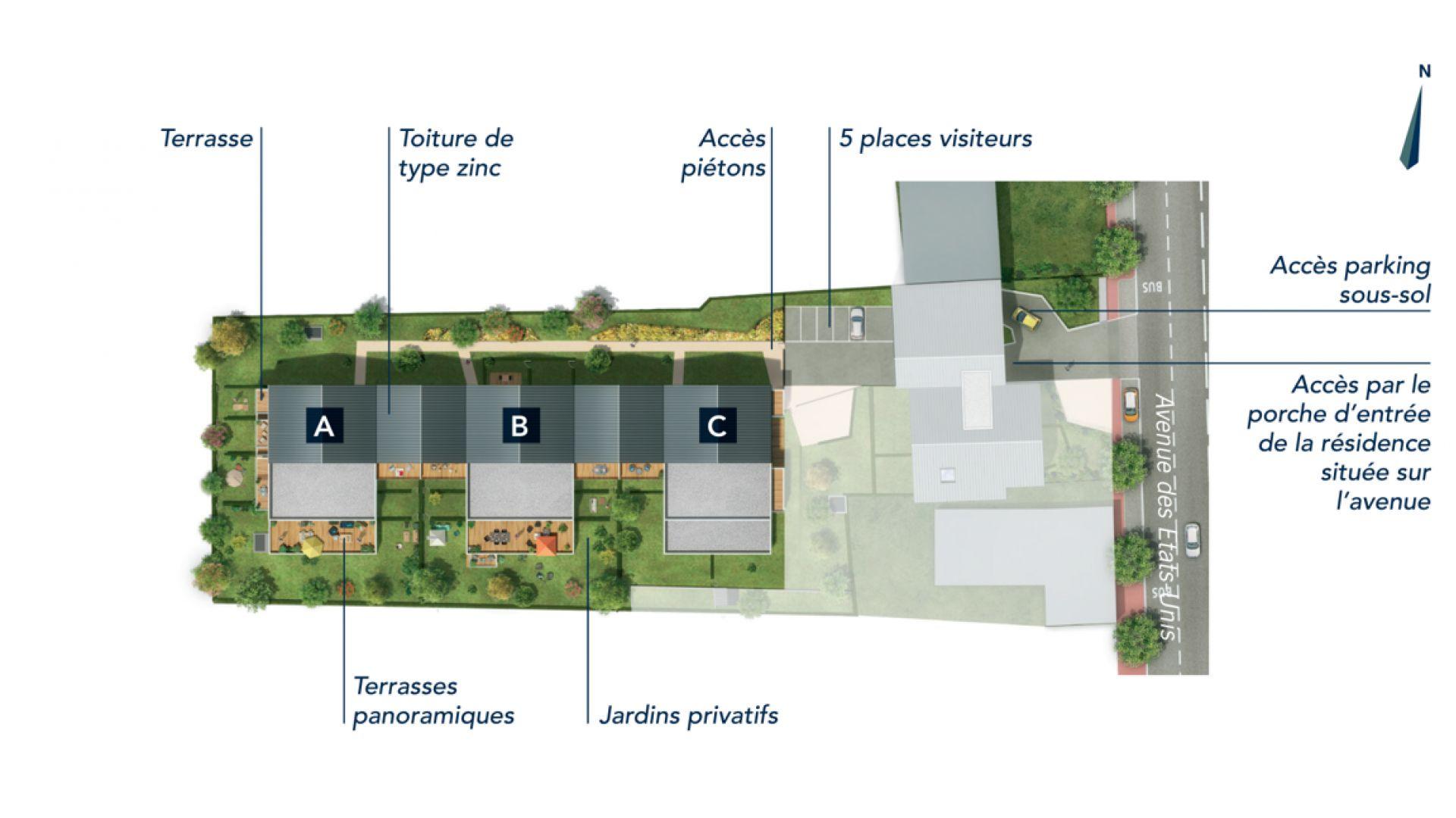 Greencity Immobilier - Résidence Coeur Floréal - 31200 Toulouse Minimes - appartements neufs du T1 au T4   - plan de masse