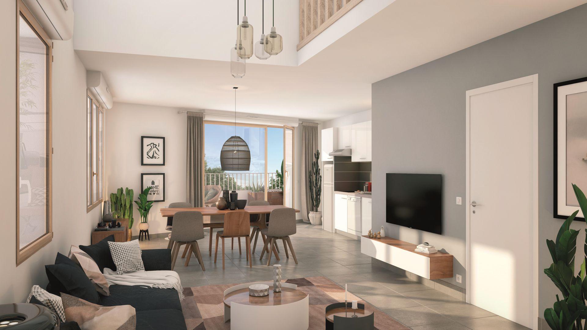 GreenCity Immobilier - Ecquevilly 78920 - Résidence Côté Parc - appartements neufs du T1 au T4 - vue intérieure