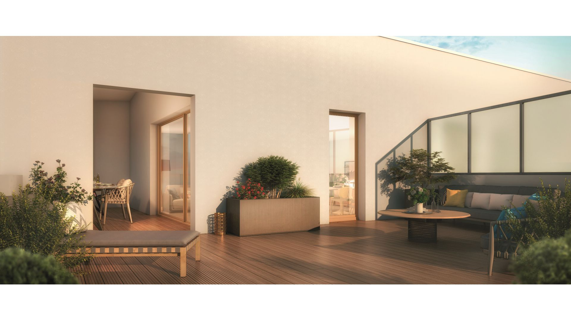 GreenCity Immobilier - Ecquevilly 78920 - Résidence Côté Parc - appartements neufs du T1 au T4 - vue terrasse