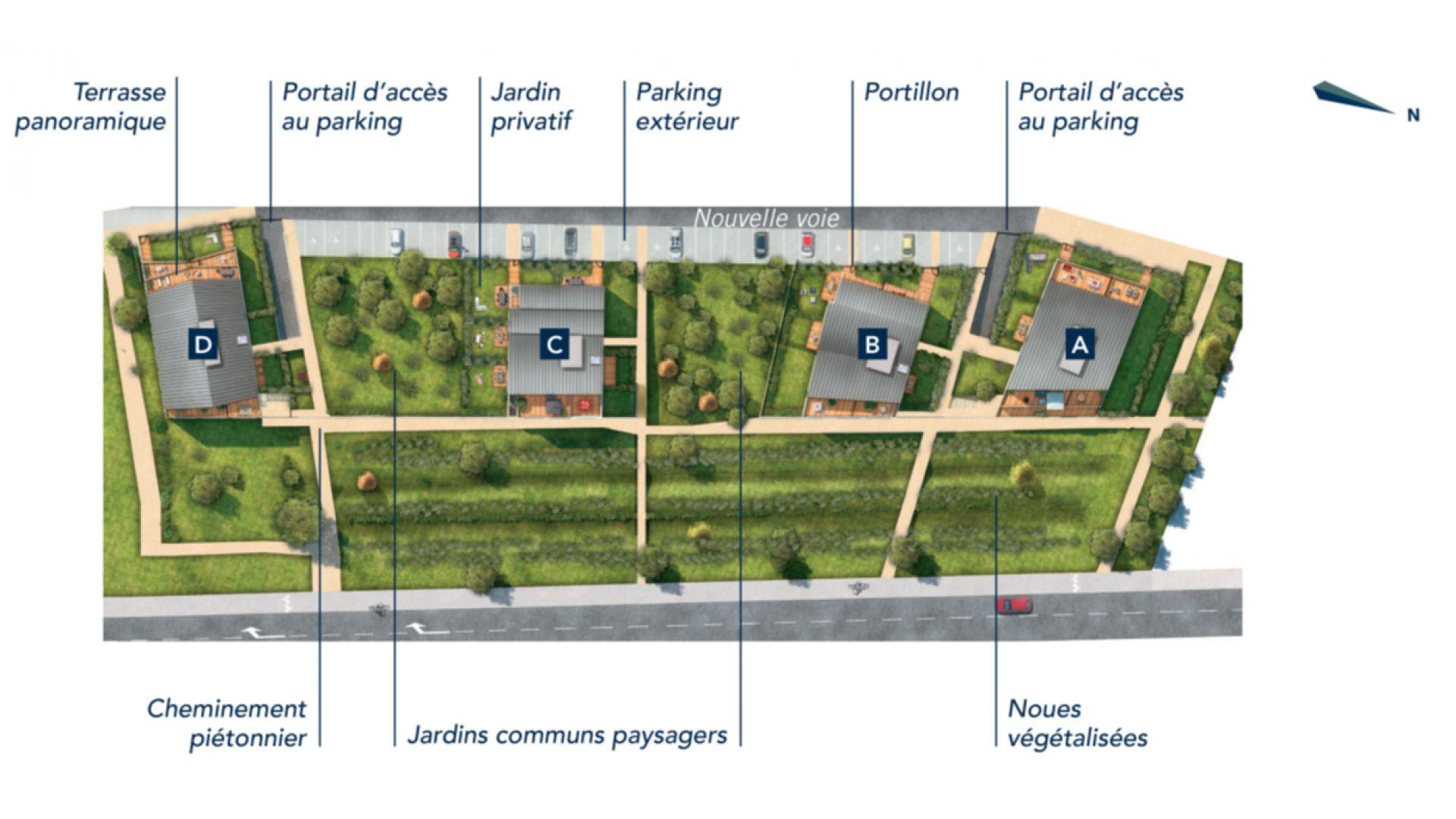 GreenCity Immobilier - Ecquevilly 78920 - Résidence Côté Parc - appartements neufs du T1 au T4 - plan de masse