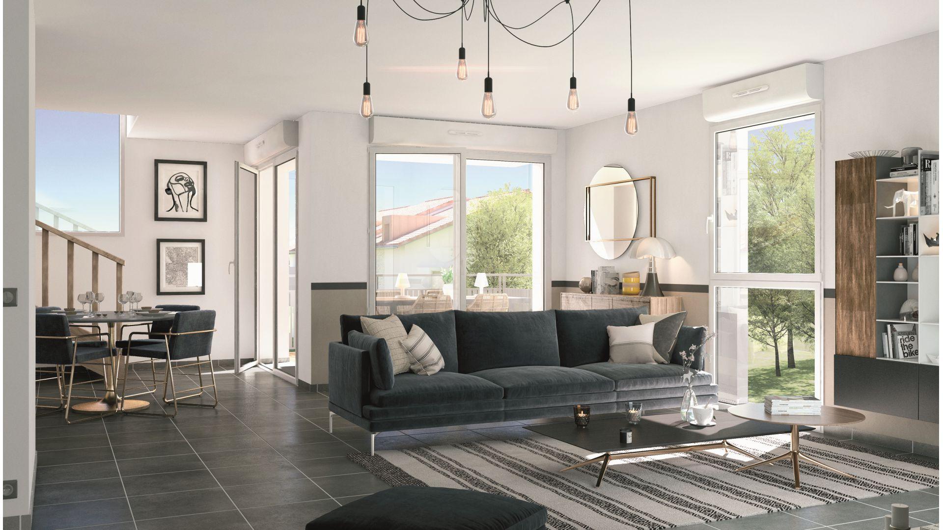 GreenCity immobilier - Résidence Cours Adrienne - 31100 Toulouse Saint-Simon - Appartements neufs du T2 au T3 duplex - vue intérieure
