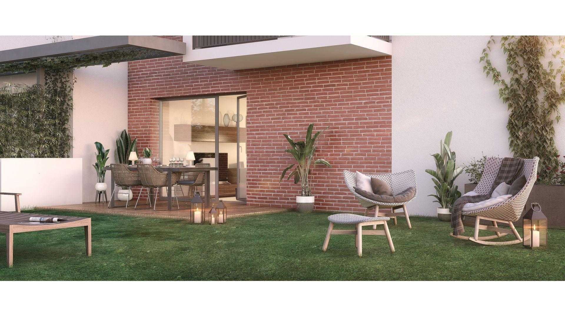 GreenCity immobilier - Résidence Cours Adrienne - 31100 Toulouse Saint-Simon - Appartements neufs du T2 au T3 duplex - vue terrasse
