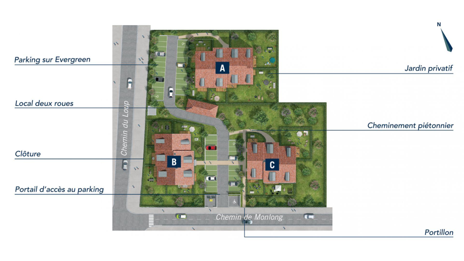 GreenCity immobilier - Résidence Cours Adrienne - 31100 Toulouse Saint-Simon - Appartements neufs du T2 au T3 duplex - plan de masse