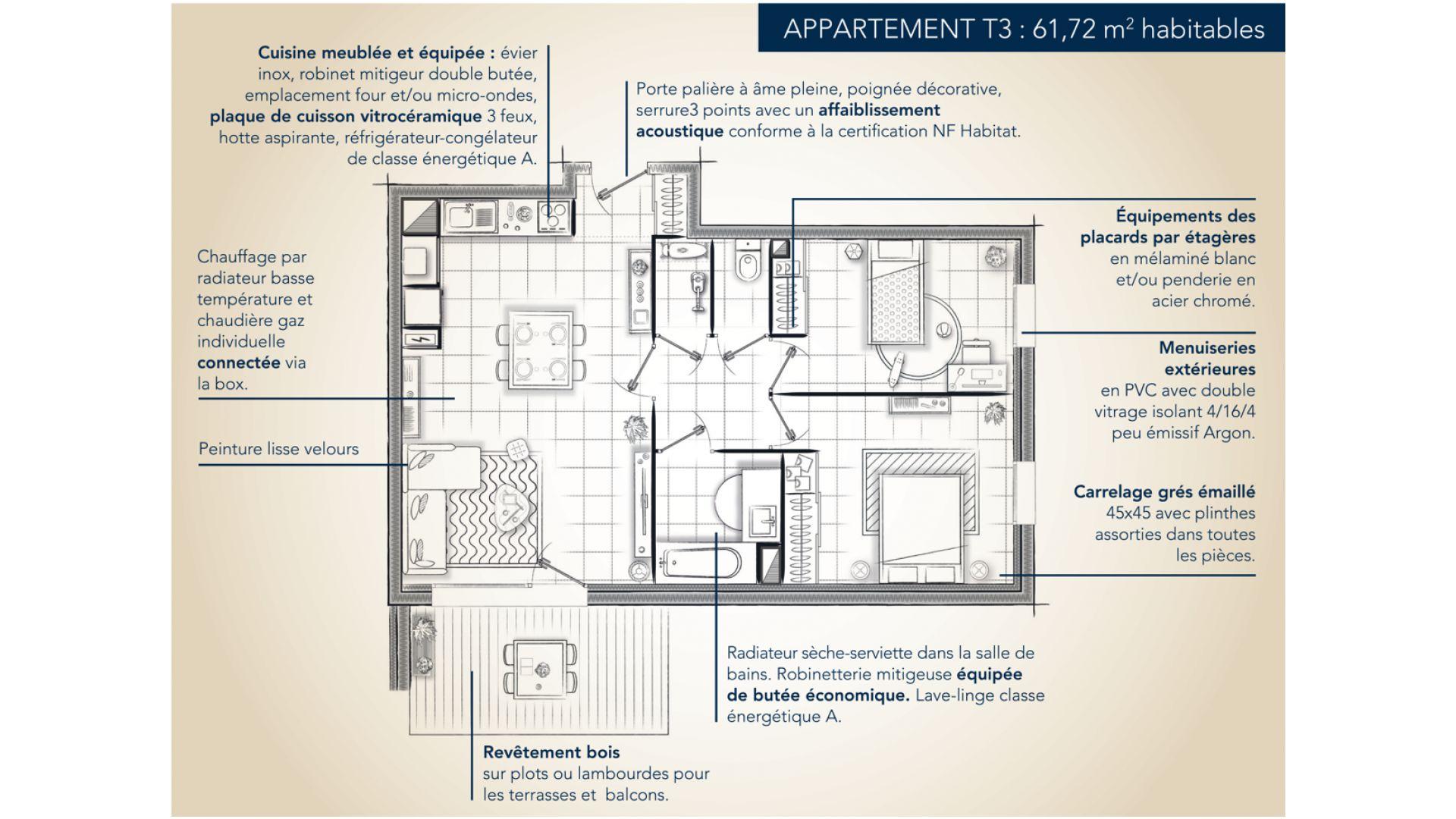 GreenCity immobilier - Résidence Cours Adrienne - 31100 Toulouse Saint-Simon - Appartements neufs du T2 au T3 duplex - plan appartement