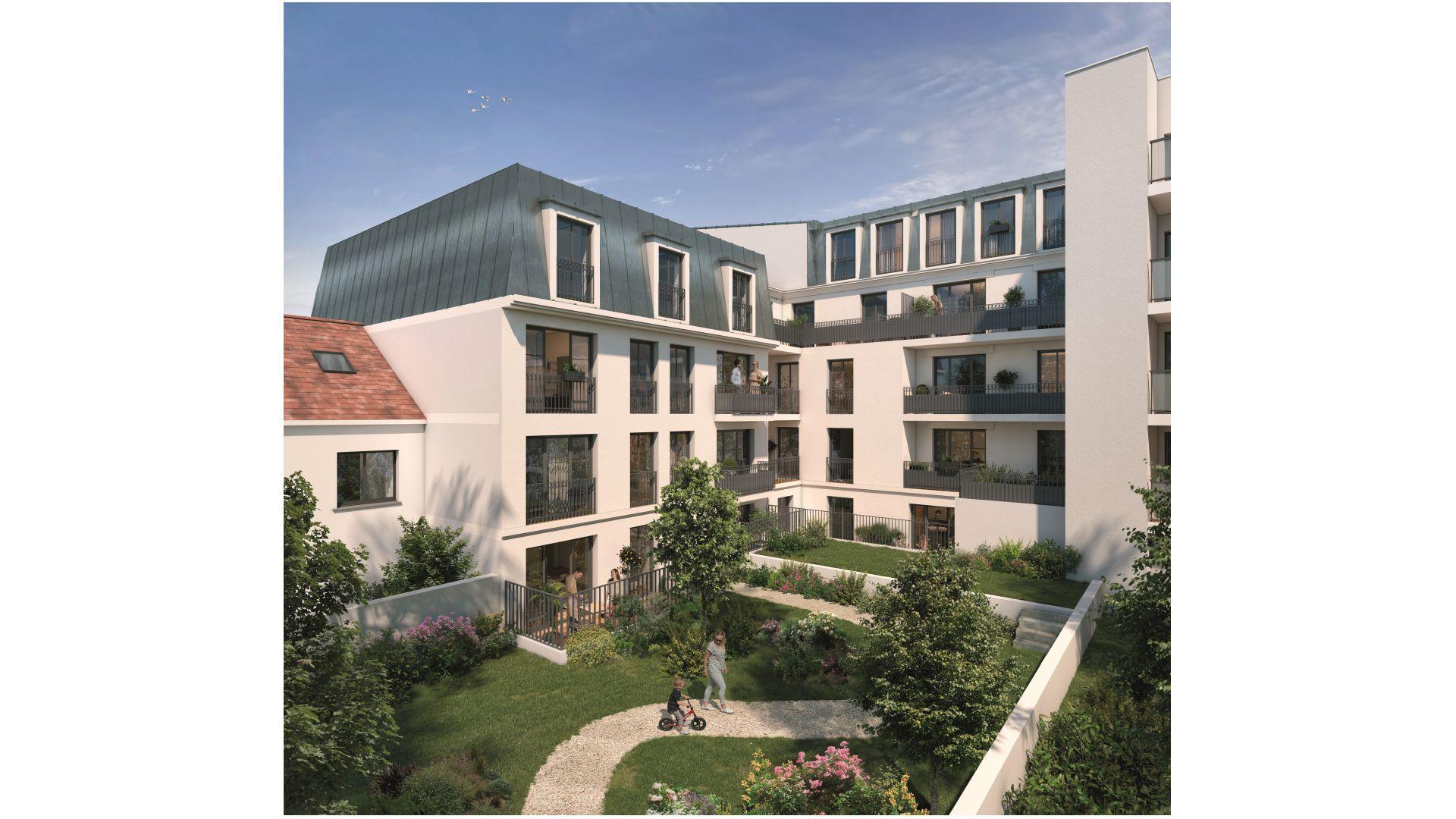 Greencity Immobilier - Cours Boileau - achat appartements neufs du T1 au T5 - Aulnay-sous-Bois - 93600 - vue jardin