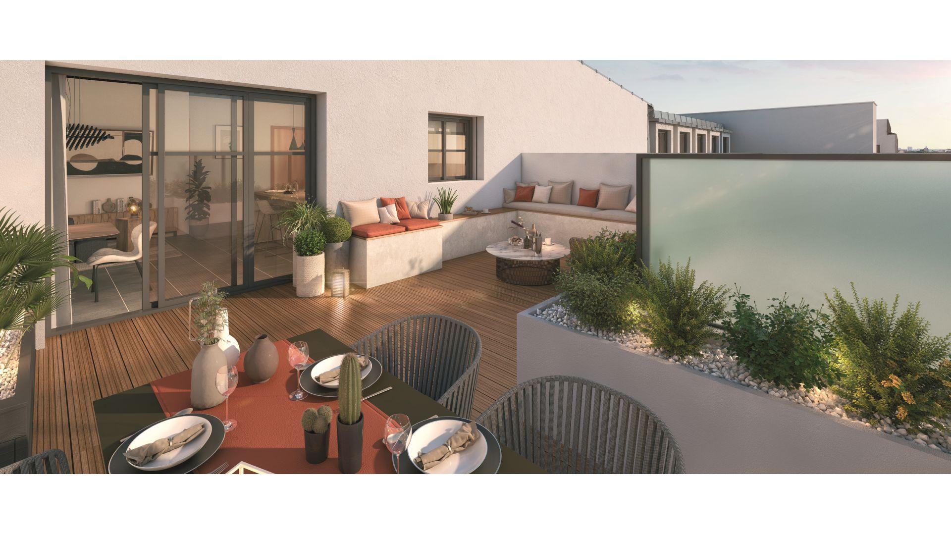 Greencity Immobilier - Cours Boileau - achat appartements neufs du T1 au T5 - Aulnay-sous-Bois - 93600  - vue terrasse