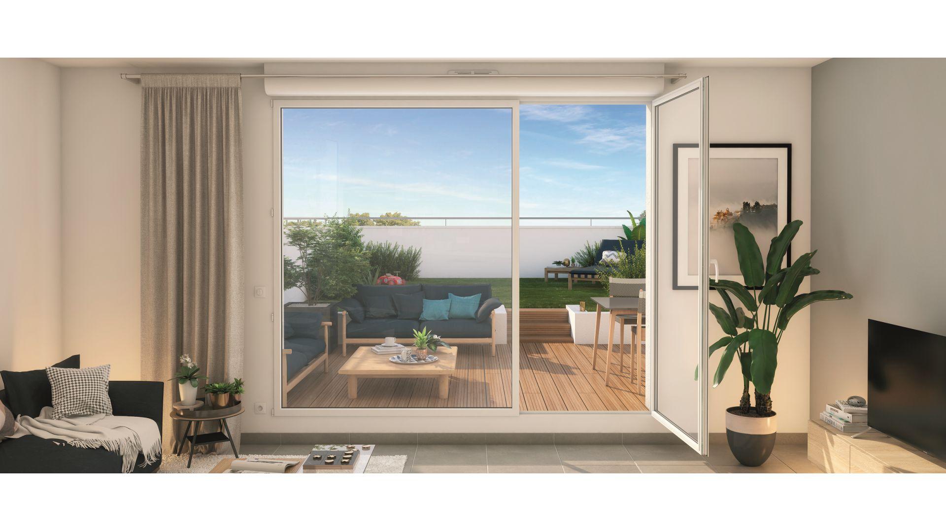 Greencity Immobilier - Résidence Cours Briand - 93190 Livry-Gargan - appartements neufs du T1 au T4Duplex - vue terrasse