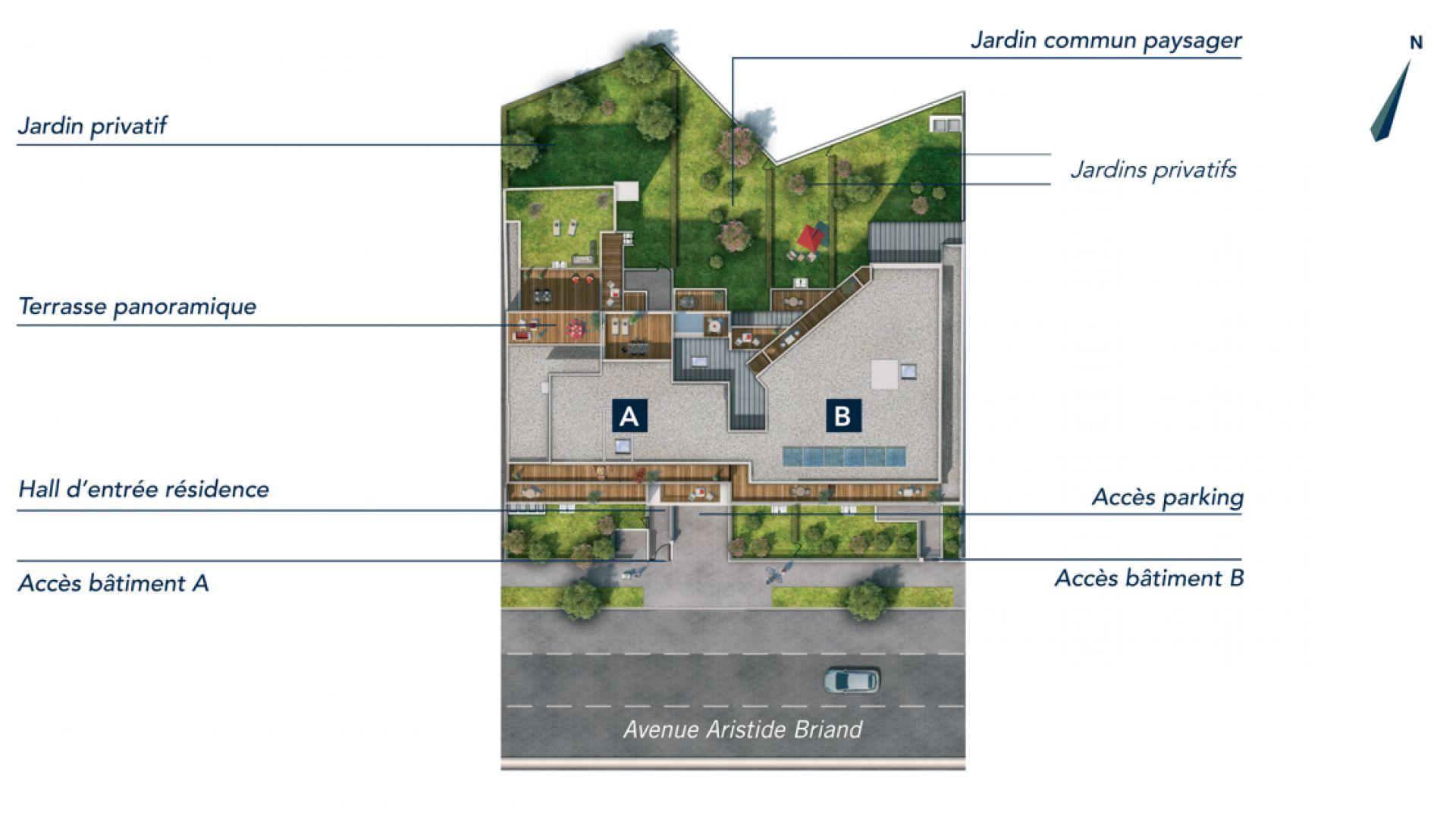 Greencity Immobilier - Résidence Cours Briand - 93190 Livry-Gargan - appartements neufs du T1 au T4Duplex - plan de masse