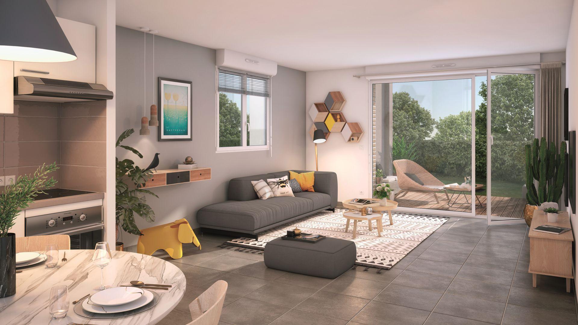 GreenCity immobilier - Frouzins - Résidence Cours du Lac - 31270 - appartements neufs du T1bis au T3  - vue intérieure