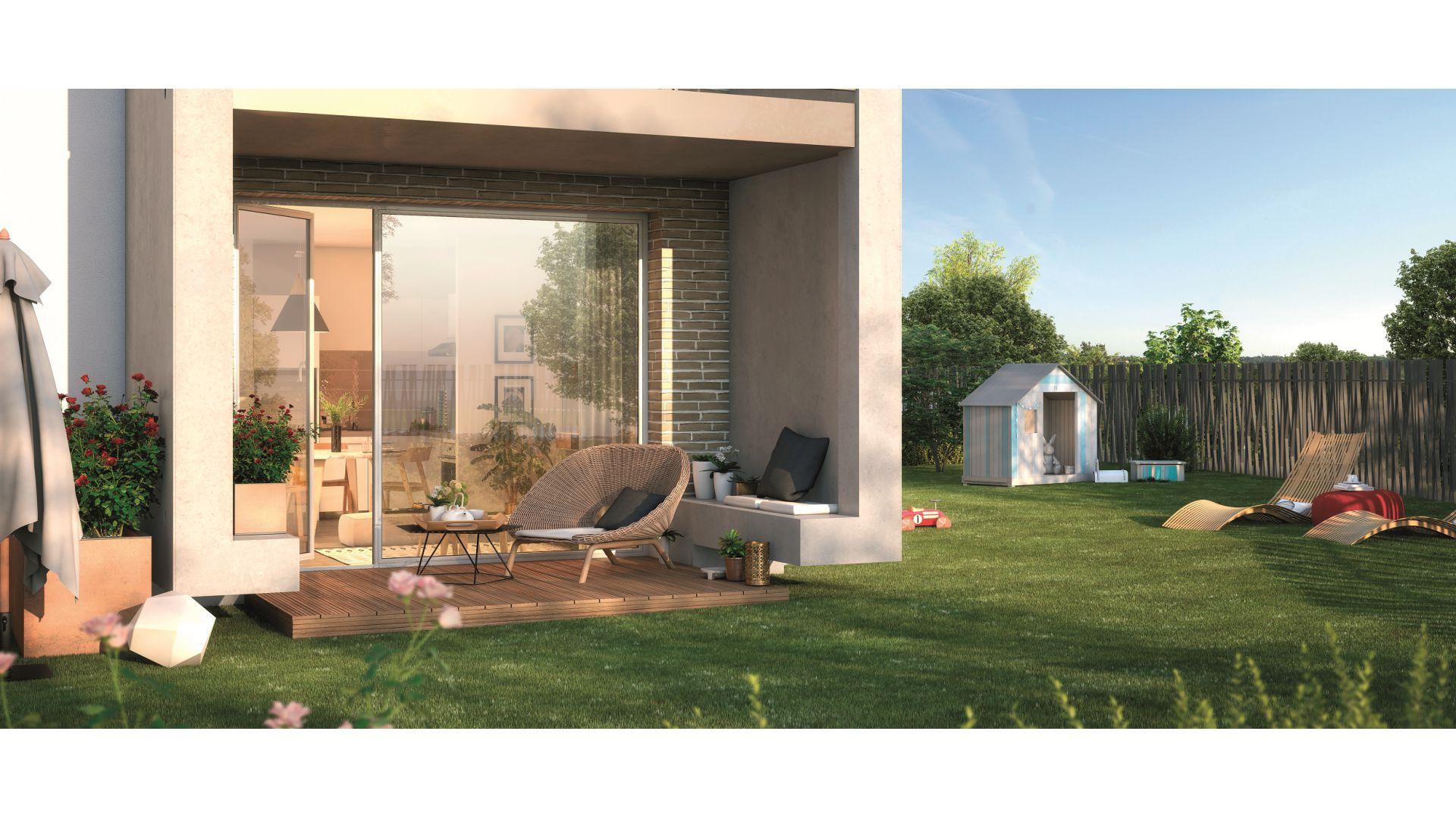 GreenCity immobilier - Frouzins - Résidence Cours du Lac - 31270 - appartements neufs du T1bis au T3  - vue terrasse