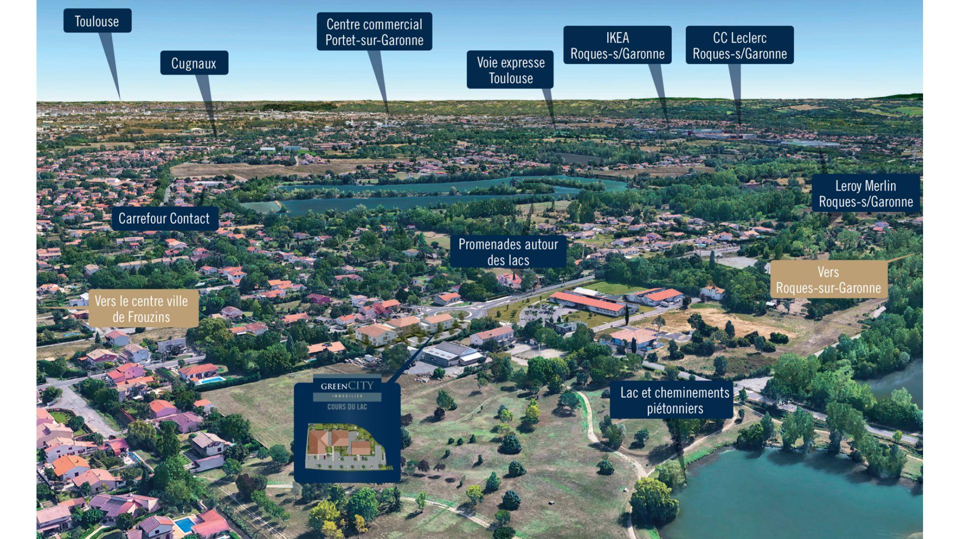 GreenCity immobilier - Frouzins - Résidence Cours du Lac - 31270 - appartements neufs du T1bis au T3 - vue paysagere