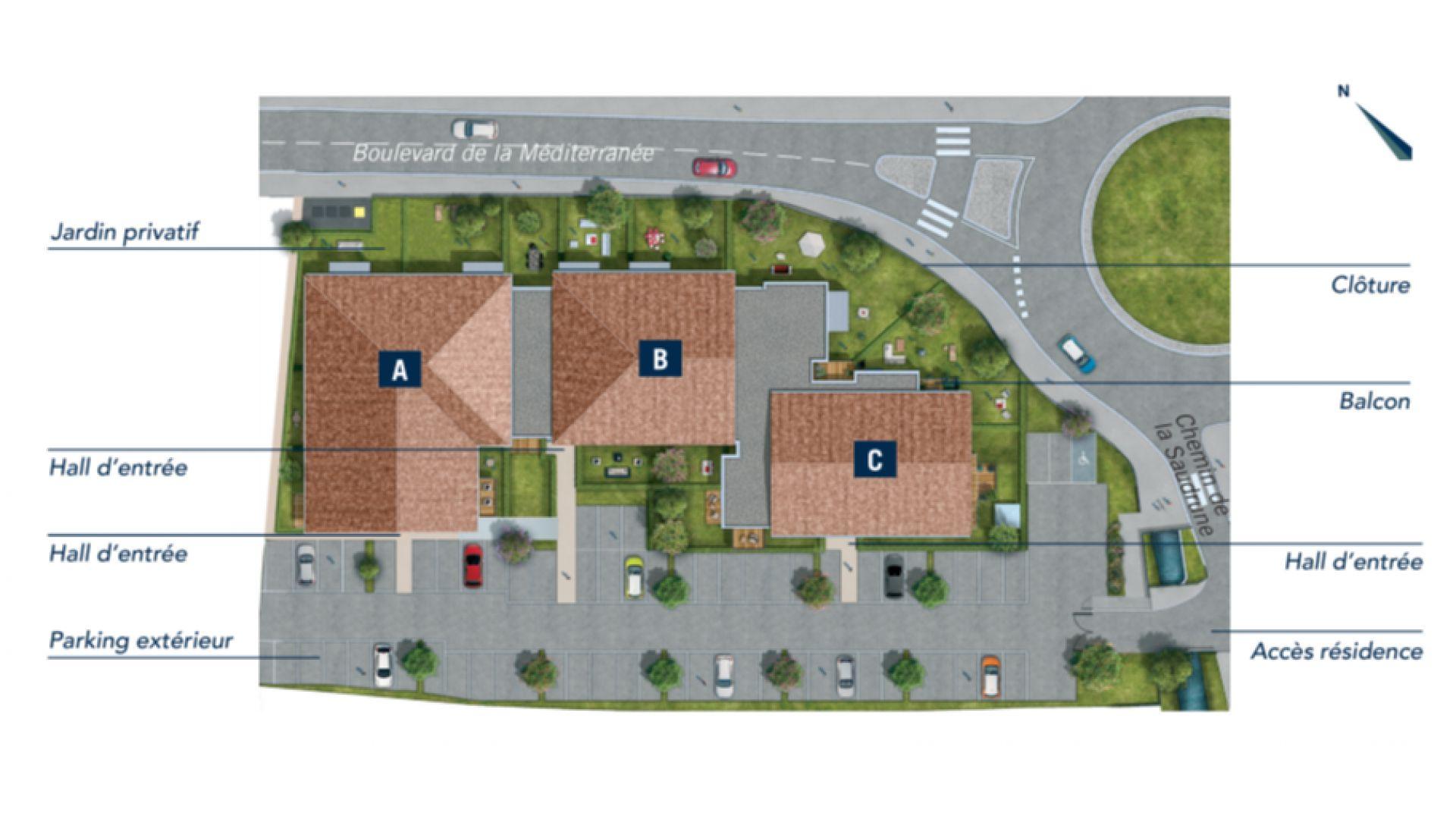 GreenCity immobilier - Frouzins - Résidence Cours du Lac - 31270 - appartements neufs du T1bis au T3 - plan de masse