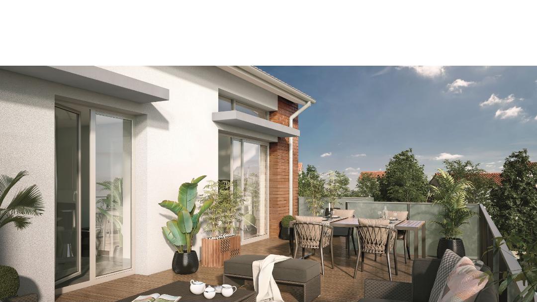 GreenCity immobilier - Aucamville - 31 - Residence Demeure des Chenes - appartements du T1bis au T4 - vue terrasse