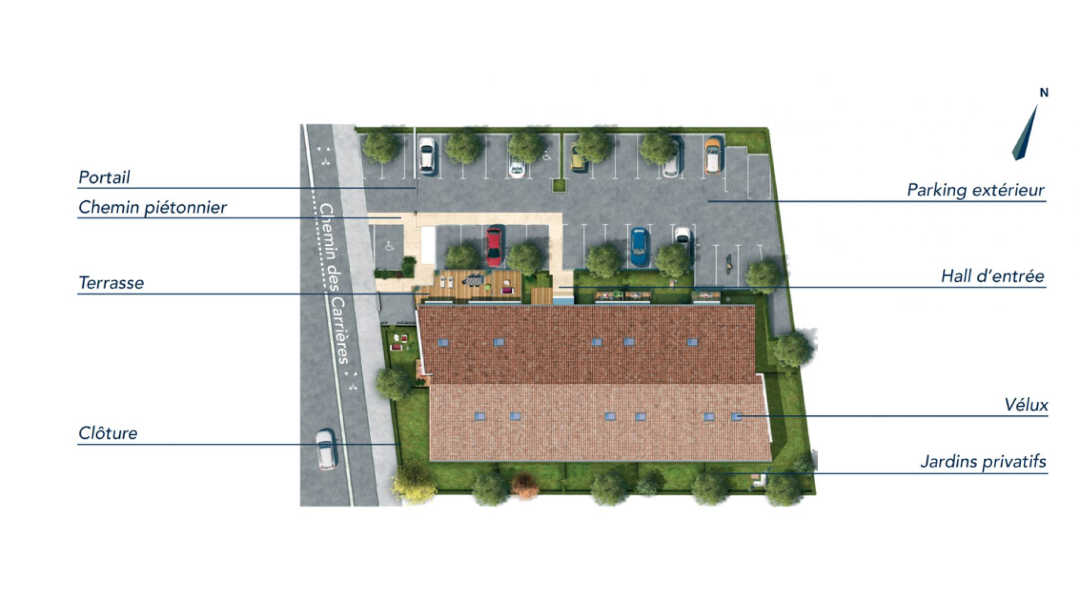 GreenCity immobilier - Aucamville - Residence Demeure des Chenes - 31 - appartements du T1bis au T4  - plan de masse