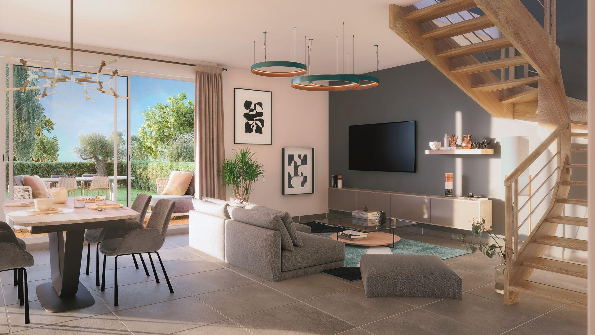 Greencity Immobilier - Domaine du Haumont - achat appartements et villas du T2 bis au T5 - Pins-Justaret 31860 - vue intérieure