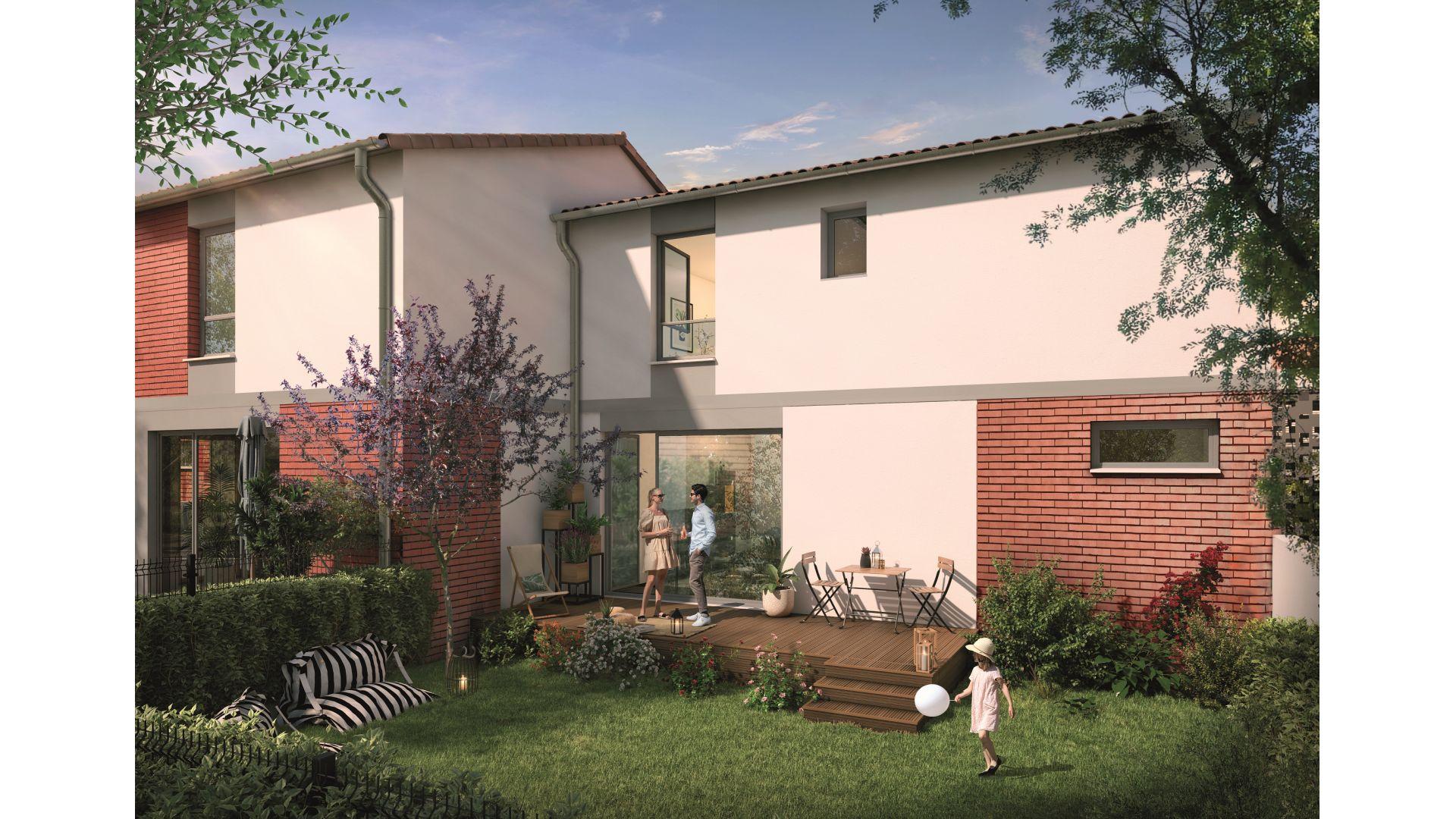 Greencity Immobilier - Domaine du Haumont - achat appartements et villas du T2 bis au T5 - Pins-Justaret 31860 - villa T3 côté jardin