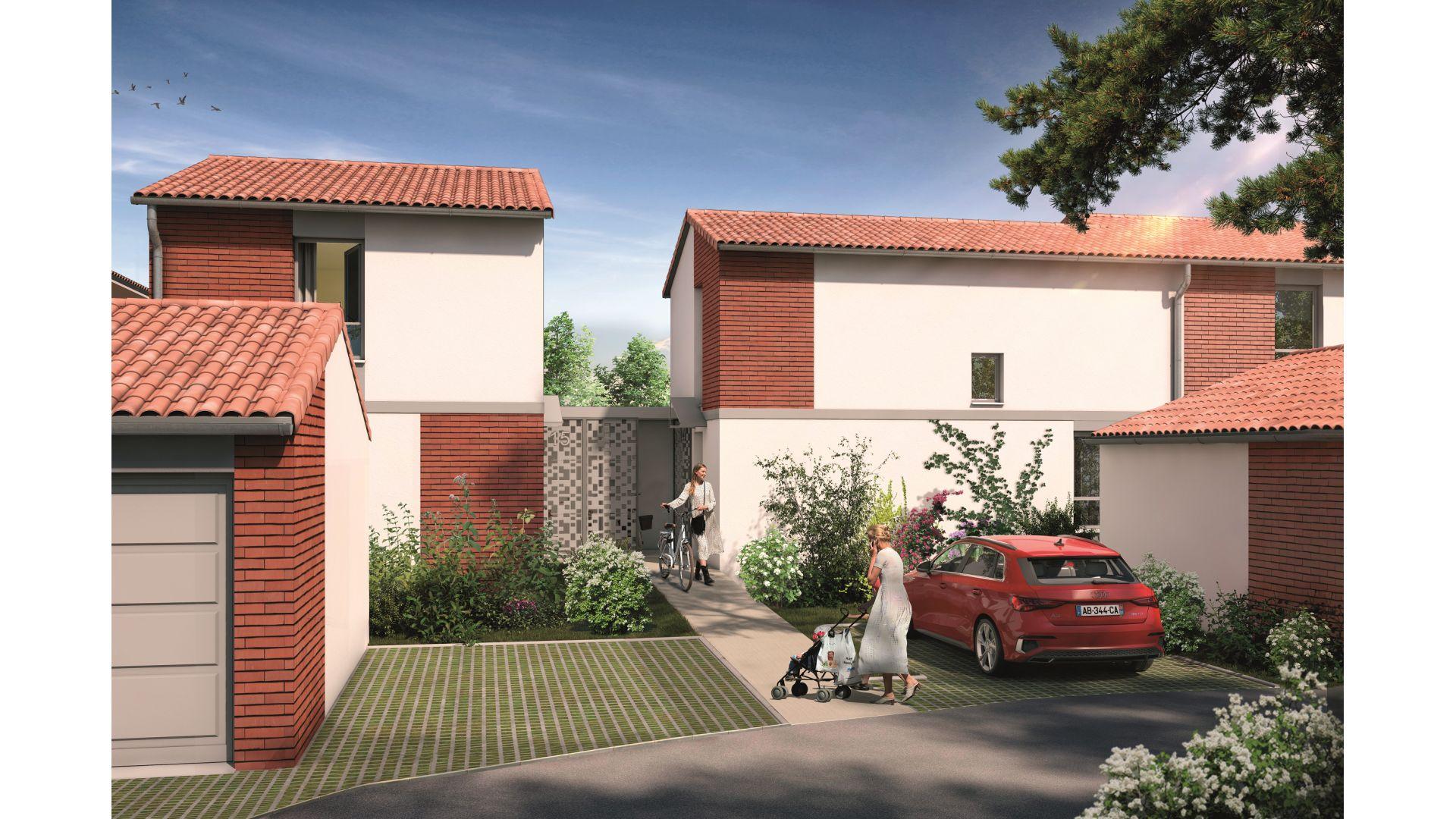 Greencity Immobilier - Domaine du Haumont - achat appartements et villas du T2 bis au T5 - Pins-Justaret 31860 - villa T3 côté rue