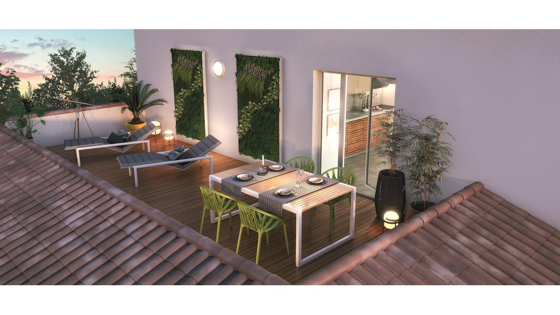 GreenCity immobilier - L Escalis - Appartement du T1 au T5 Duplex - Escalquens 31750 - vue terrasse