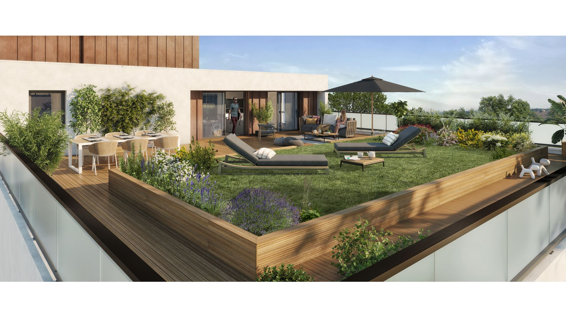 Greencity Immobilier - Grand Horizon - achat appartements du T2 au T4 duplex - Toulouse - Pech David 31400 - vue terrasse