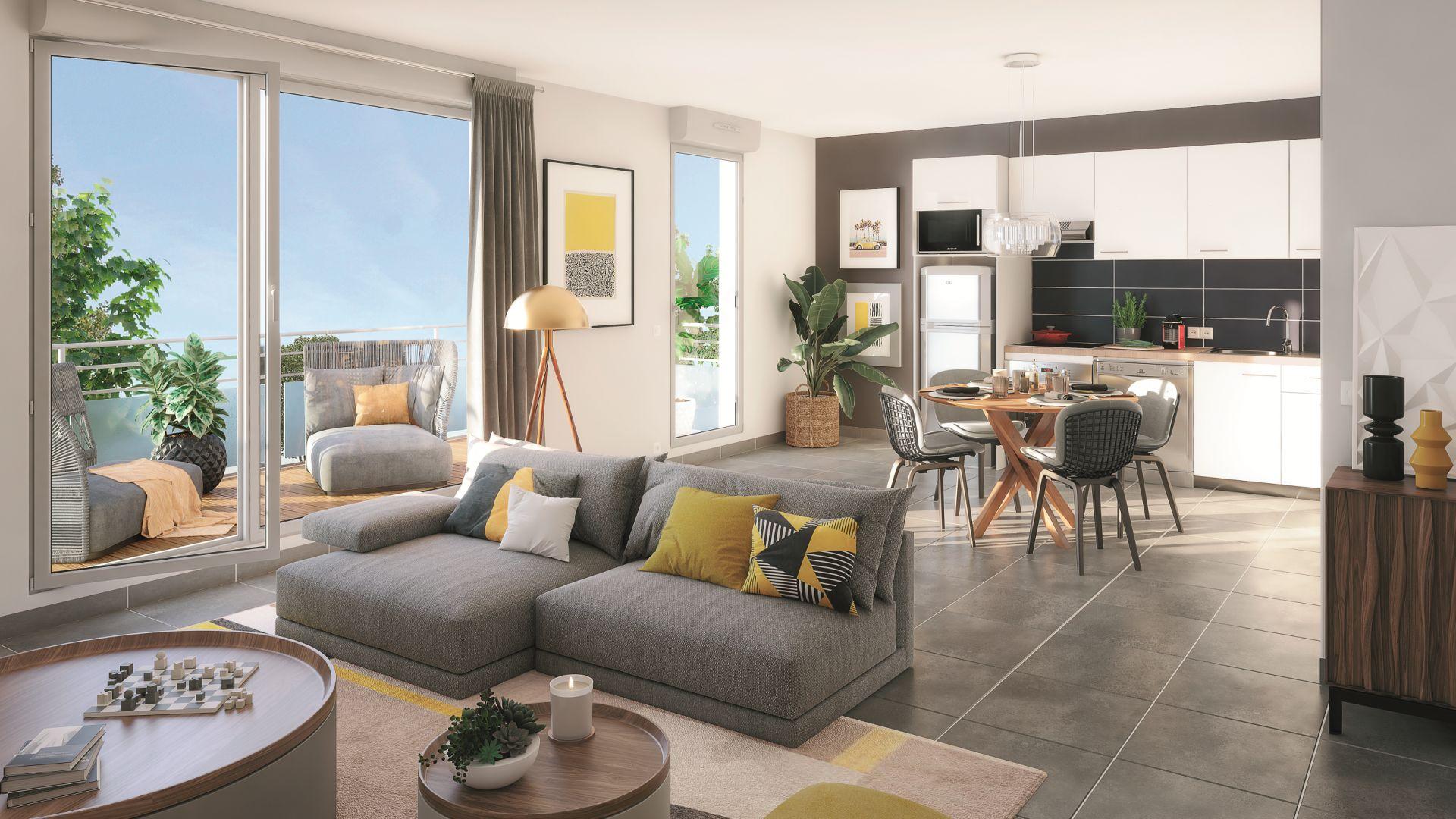 Greencity Immobilier - Hameau Dhuoda - achat appartements neufs du T2 au T3 - 31100 Toulouse Saint-Simon - vue intérieure