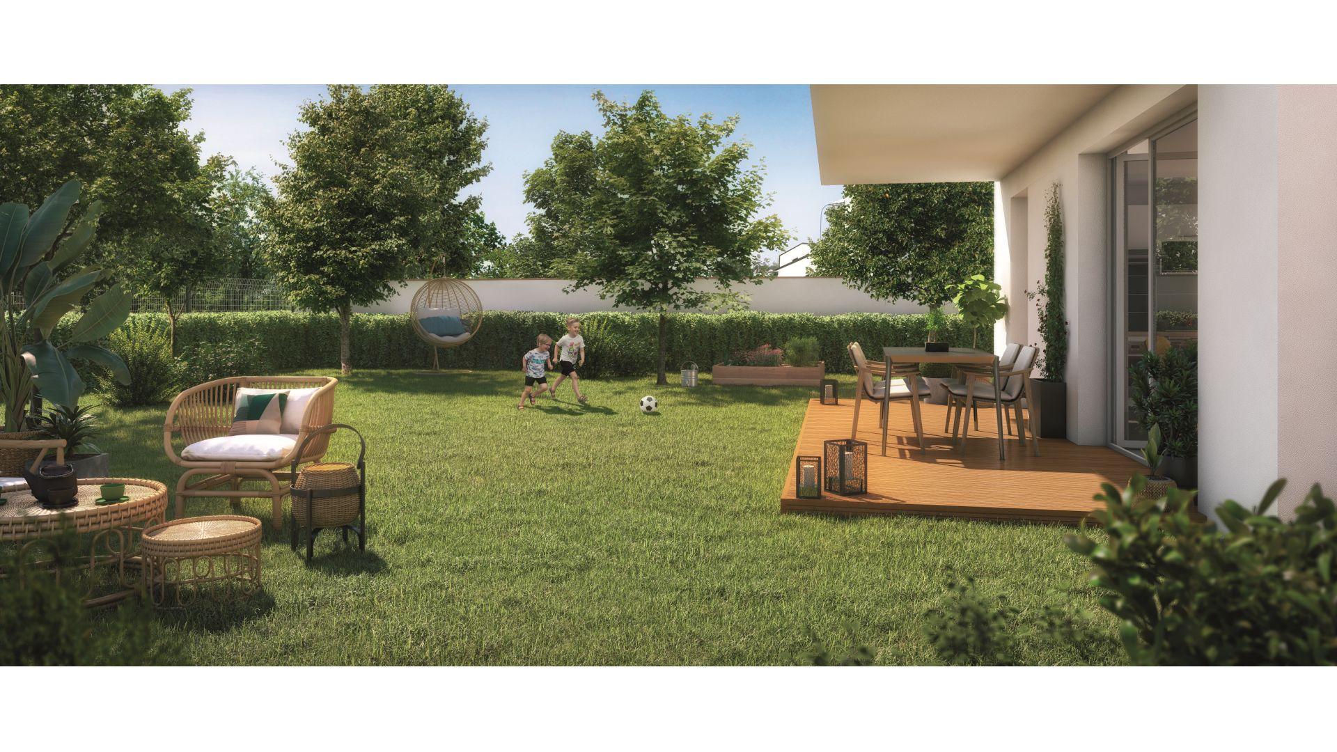 Greencity Immobilier - Hameau Dhuoda - achat appartements neufs du T2 au T3 - 31100 Toulouse Saint-Simon - vue terrasse