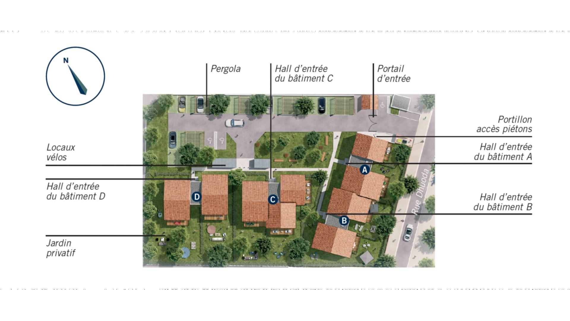 Greencity Immobilier - Hameau Dhuoda - achat appartements neufs du T2 au T3 - 31100 Toulouse Saint-Simon - plan de masee