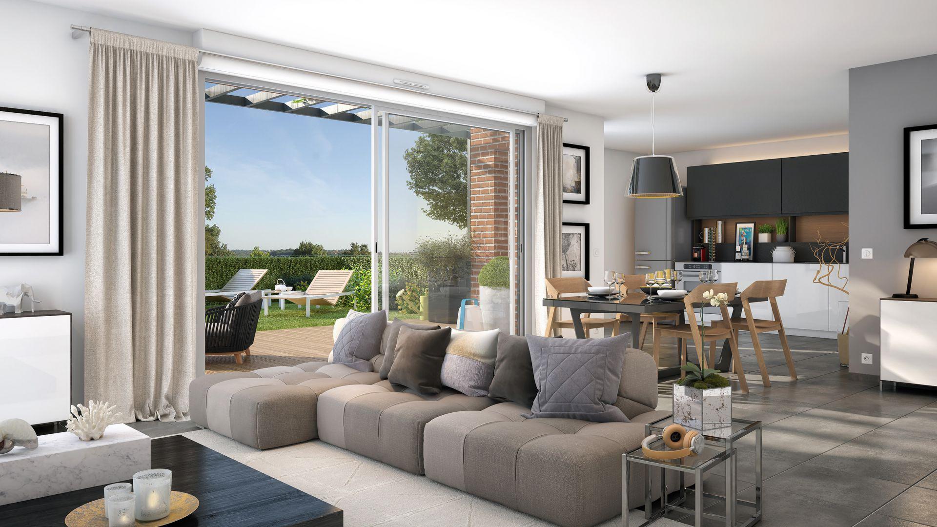 GreenCity Immobilier-La Bastide D'Adèle-Tournefeuille-31170-Villa T5 intérieur