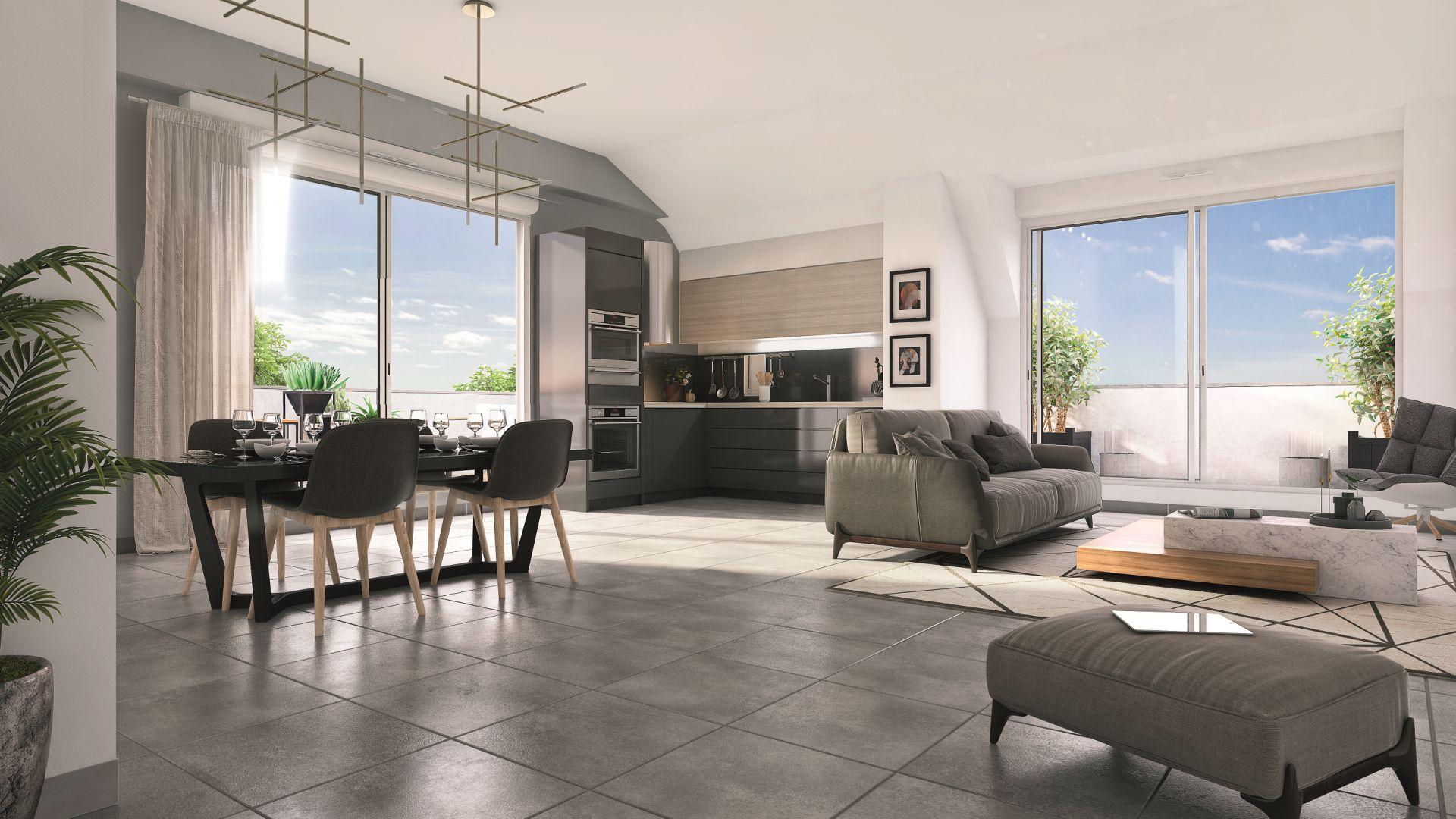 GreenCity immobilier - Toulouse - route de Narbonne - 31400 - Résidence L'Absolu - appartements neufs du T2 au T4 - vue intérieure