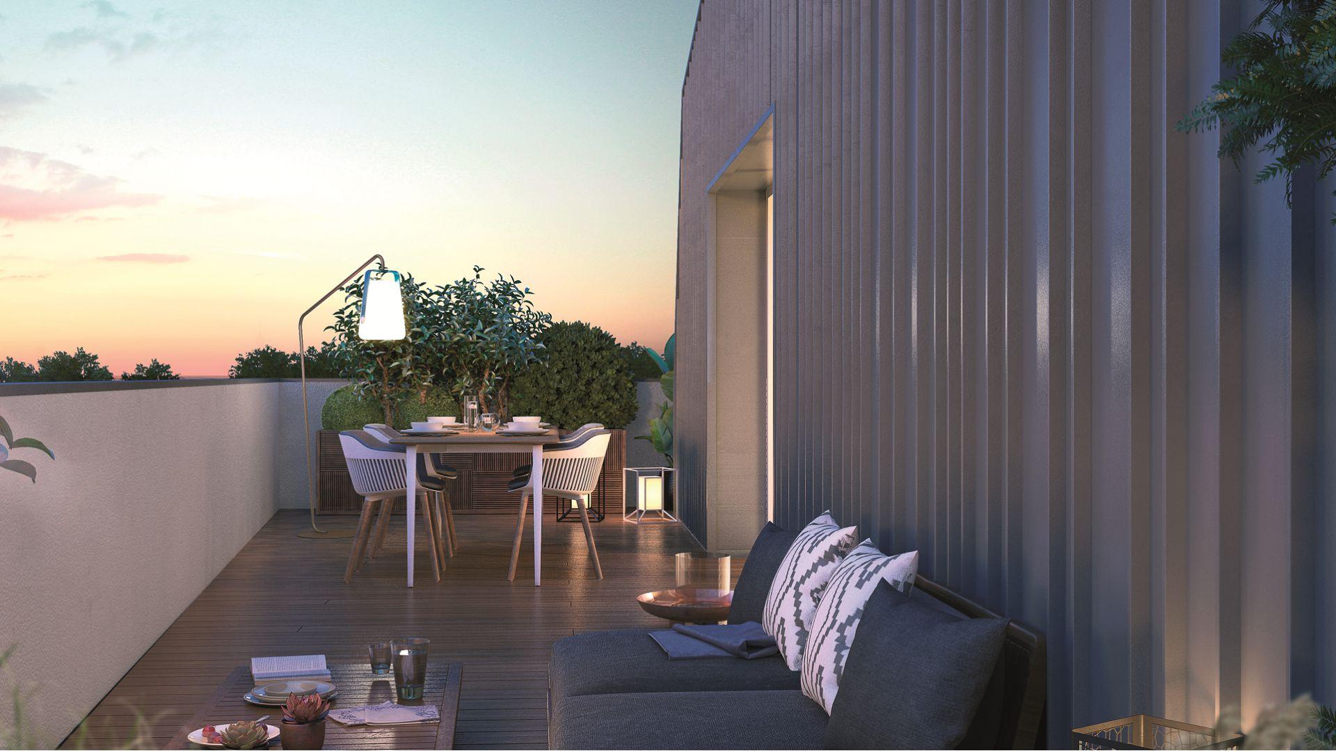 GreenCity immobilier - Toulouse - route de Narbonne - 31400 - Résidence L'Absolu - appartements neufs du T2 au T4 - vue terrasse