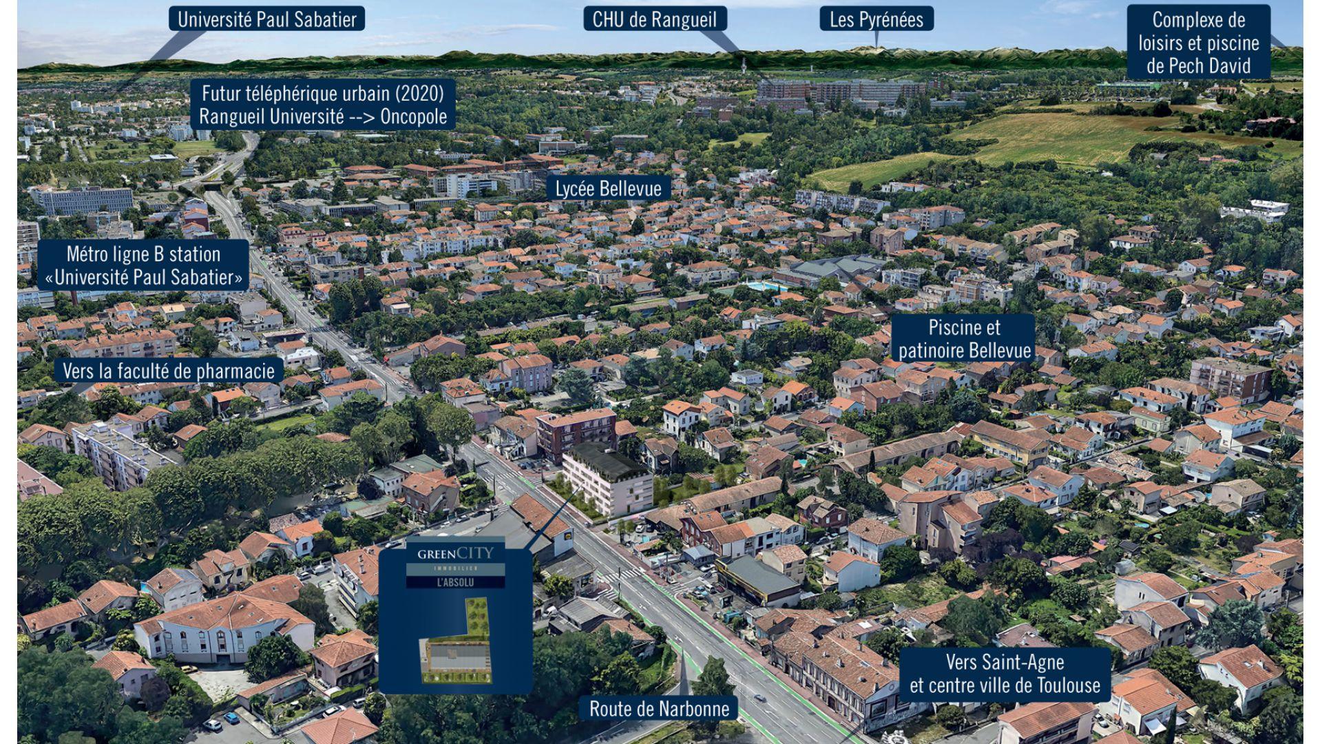 GreenCity immobilier - Toulouse - route de Narbonne - 31400 - Résidence L'Absolu - appartements neufs du T2 au T4 - insertion paysagère