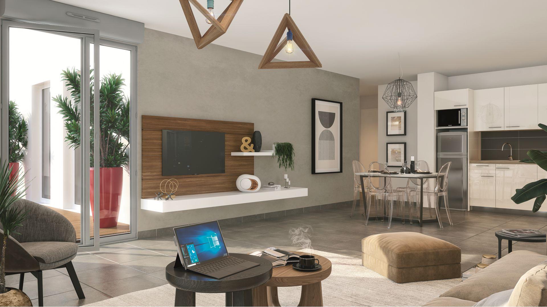 GreenCity immobilier - Frouzins - Résidence l'Aiguillon - 31270 - appartements neufs du T2 au T3  - vue intérieure