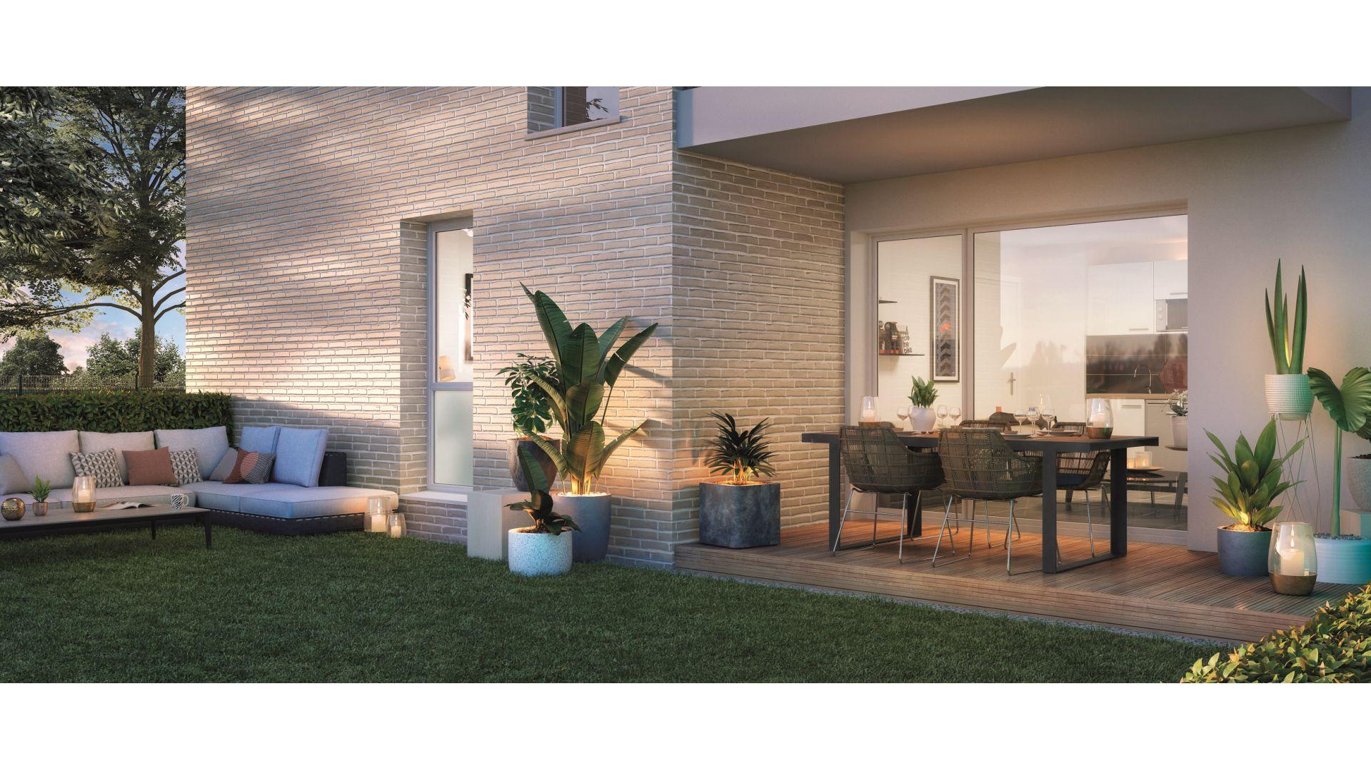 GreenCity immobilier - Frouzins - Résidence l'Aiguillon - 31270 - appartements neufs du T2 au T3  - vue terrasse