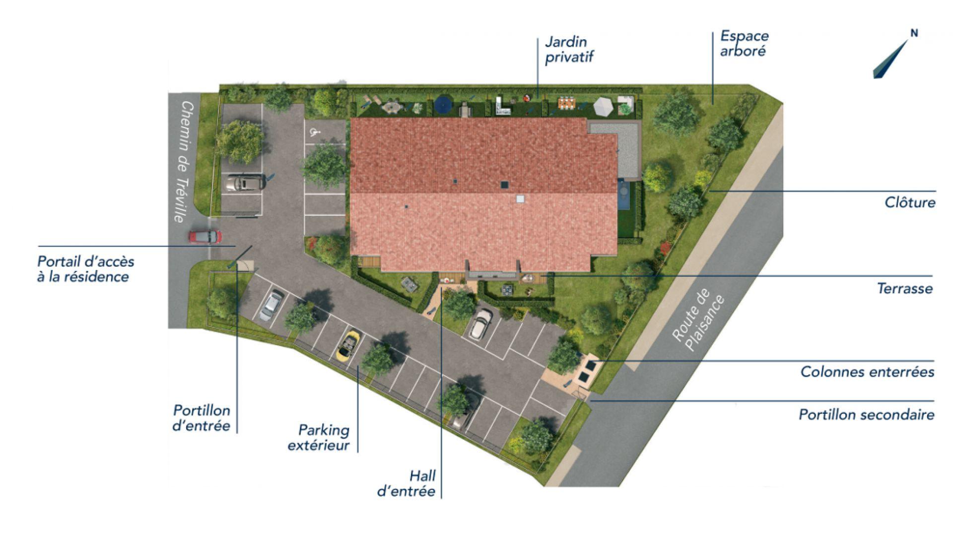 GreenCity immobilier - Frouzins - Résidence l'Aiguillon - 31270 - appartements neufs du T2 au T3  - plan de masse