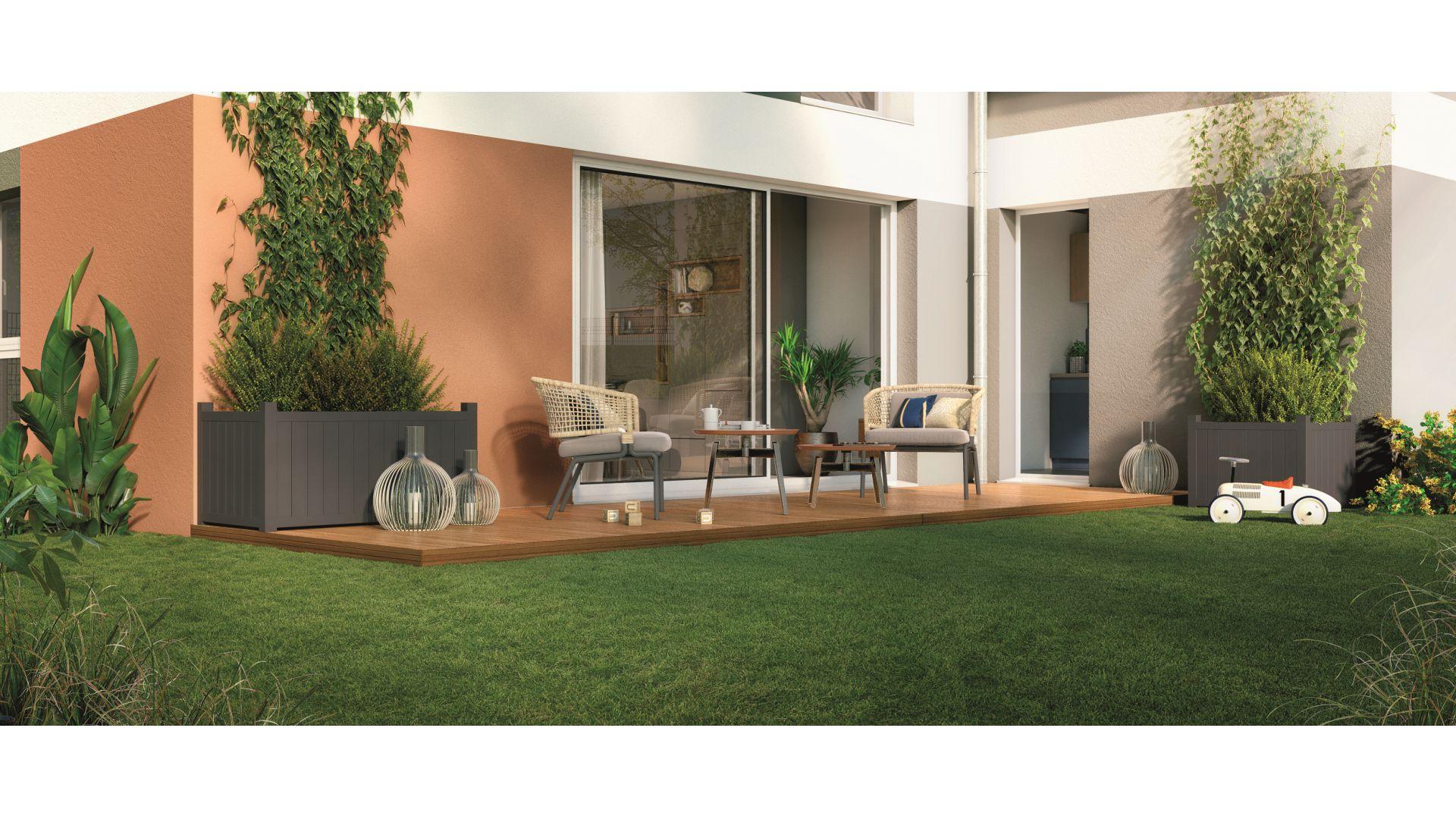 GreenCity immobilier - Aussonne 31840 - Résidence l azalee - achat appartement neuf aussonne - T2 - vue terrasse