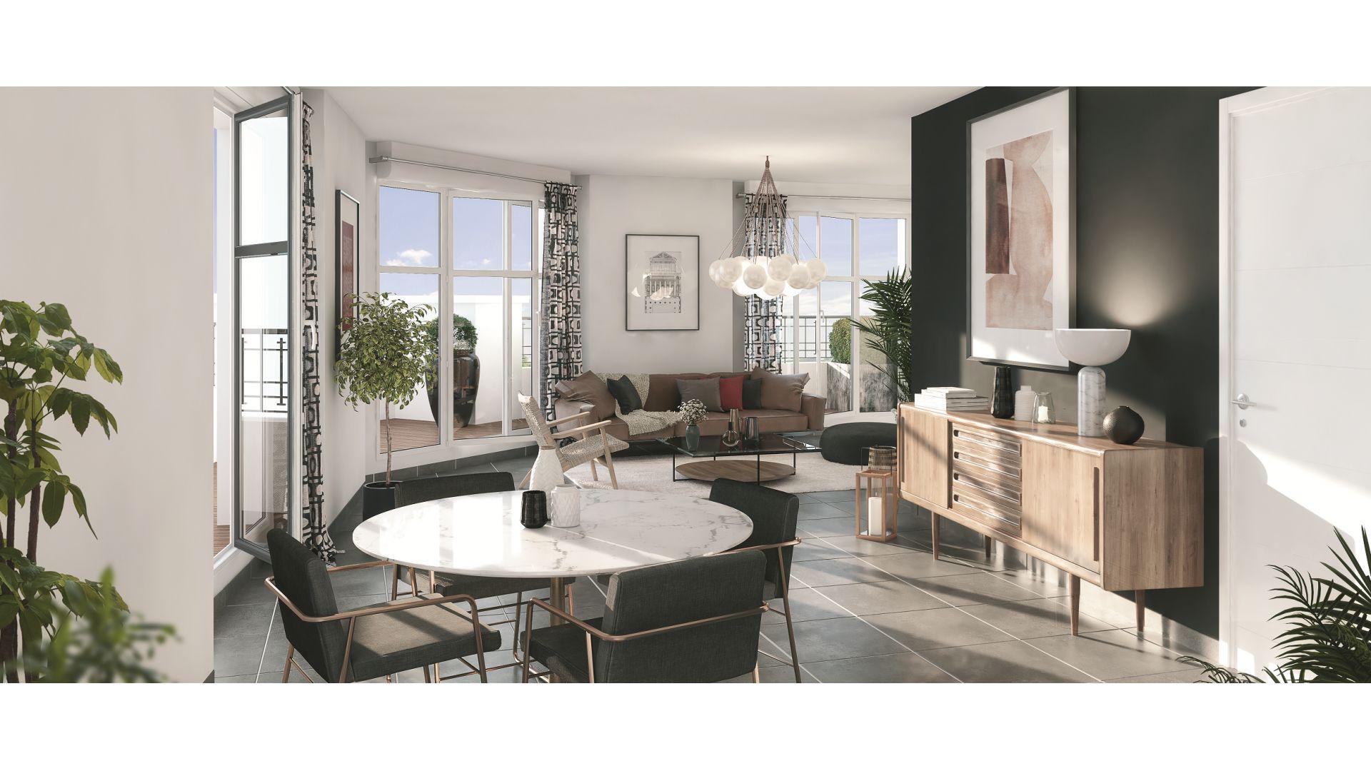 Greencity Immobilier - Résidence Le 122 Aéropostale - 93150 Le Blanc Mesnil - A vendre appartement du T1 bis au T4 Duplex - vue inérieure