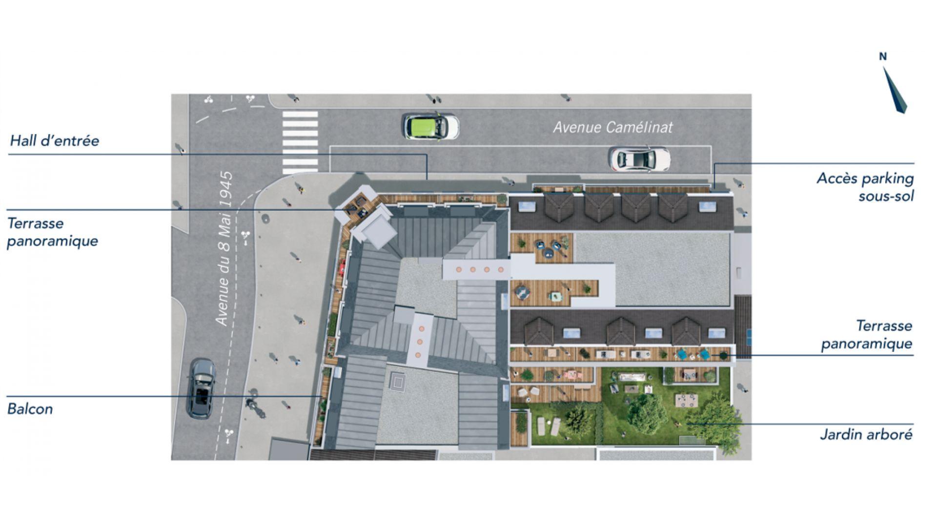 Greencity Immobilier - Résidence Le 122 Aéropostale - 93150 Le Blanc Mesnil - A vendre appartement du T1 bis au T4 Duplex - plan de masse