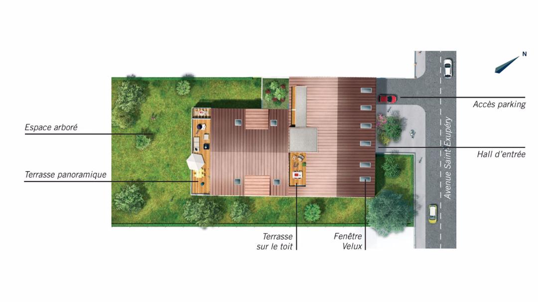 Greencity Immobilier - Le 234 Avenue - Toulouse - 31400 - plan de masse